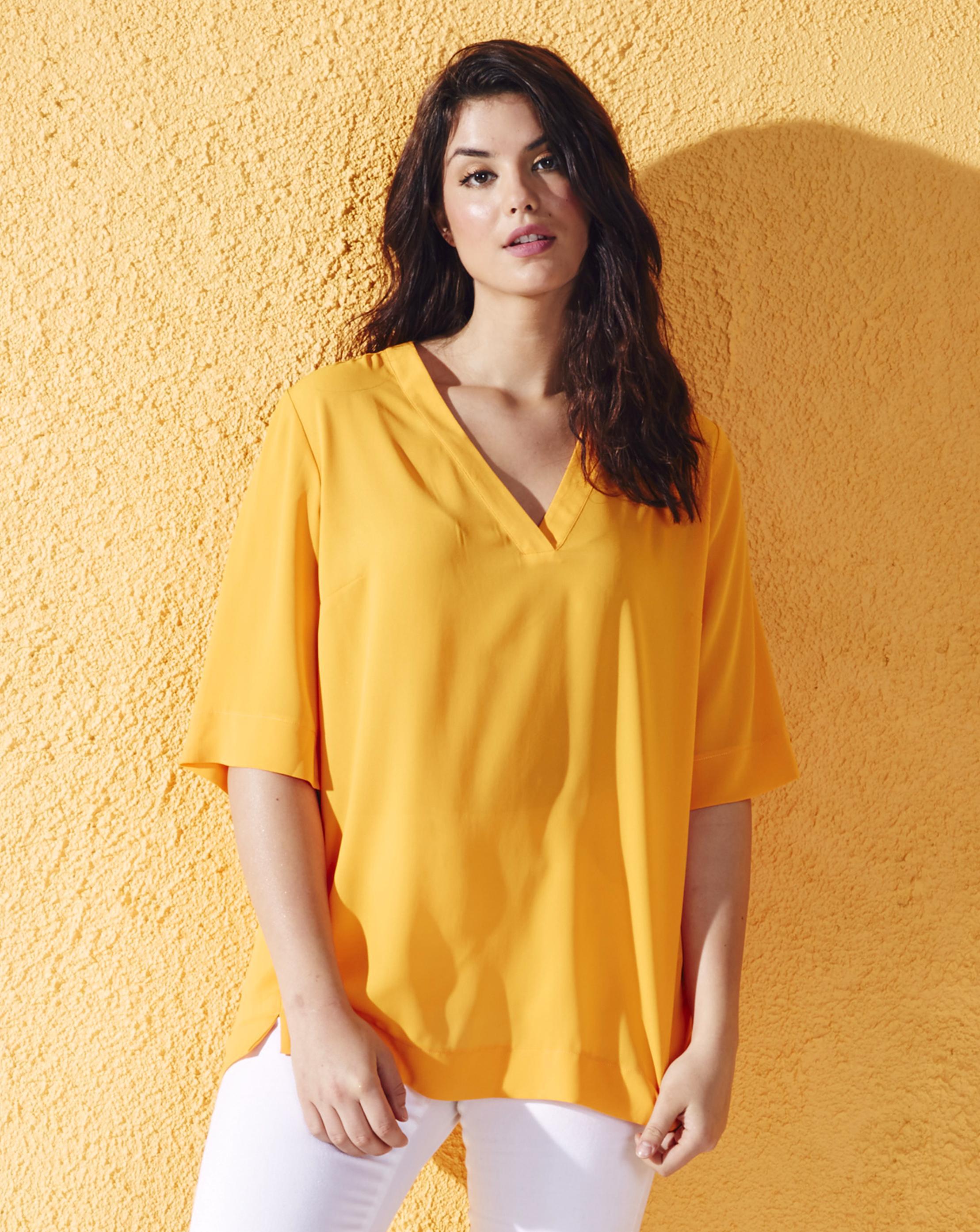 0de5da28d Simply Be V-neck Split Side Top in Yellow - Lyst