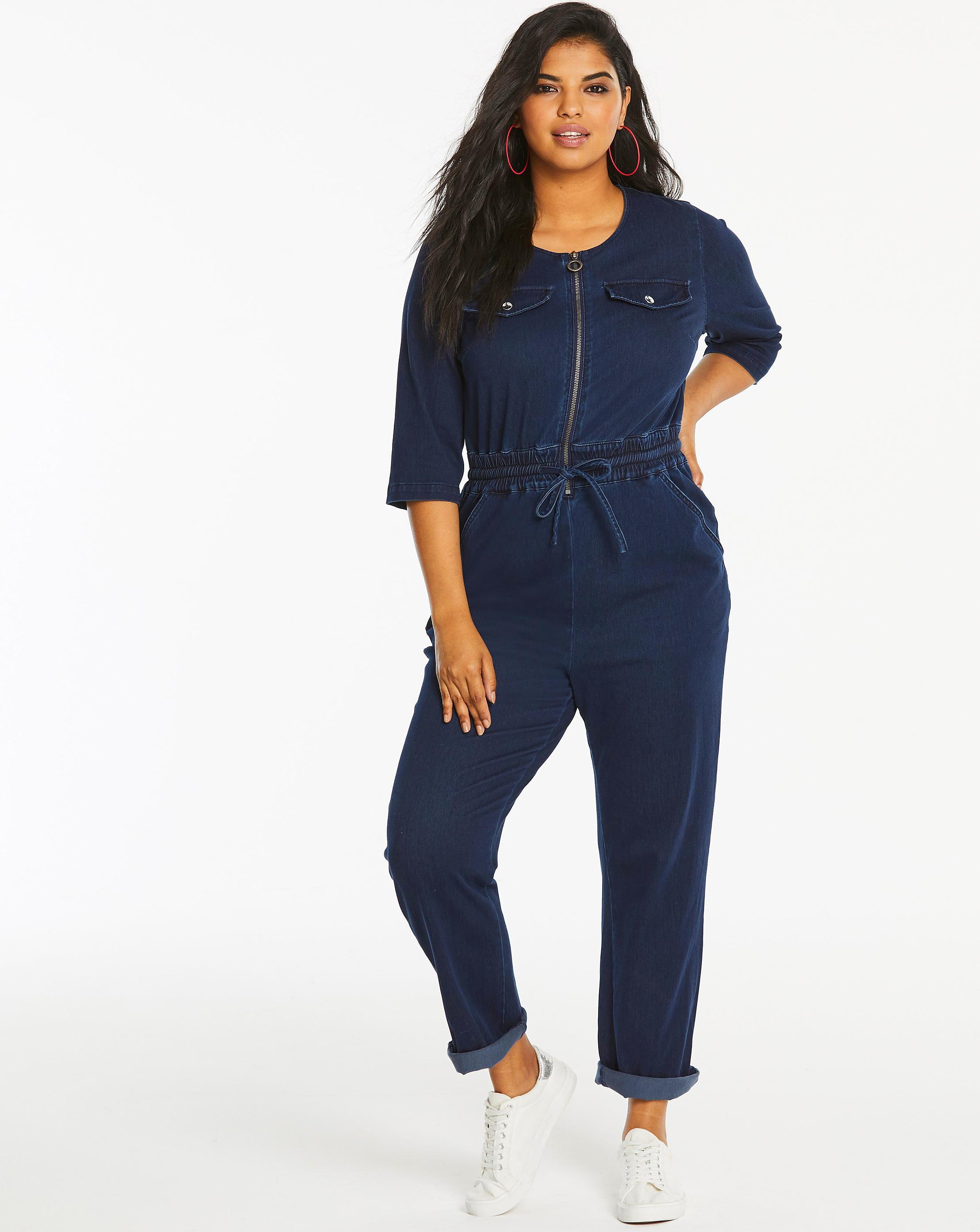 be02bf9e30608 Women s Blue Jersey Denim Zipper Front Tapered Leg Jumpsuit