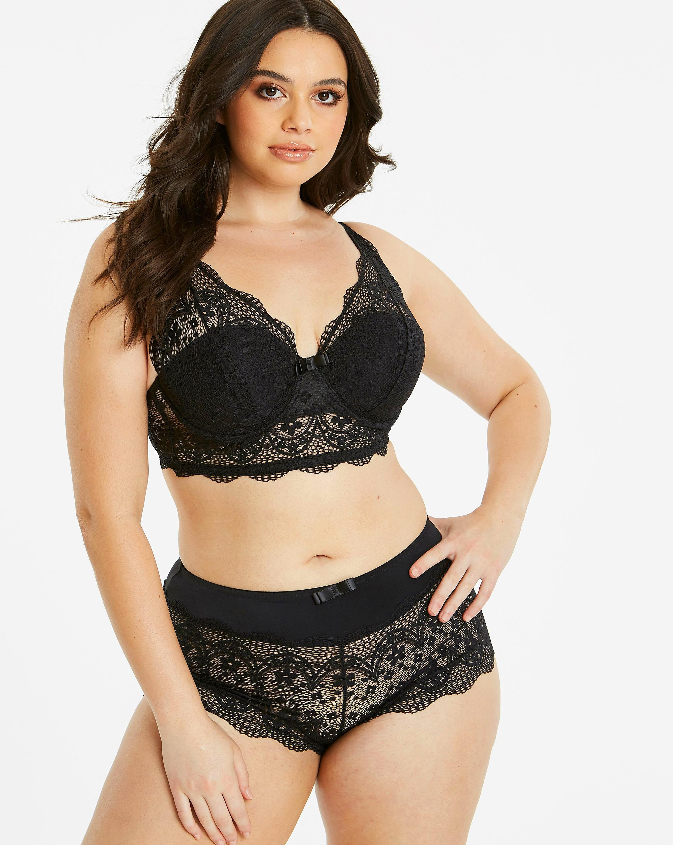 e431d3dd03 Lyst - Simply Be Pretty Secrets Lottie Lace Midi Bralette in Black