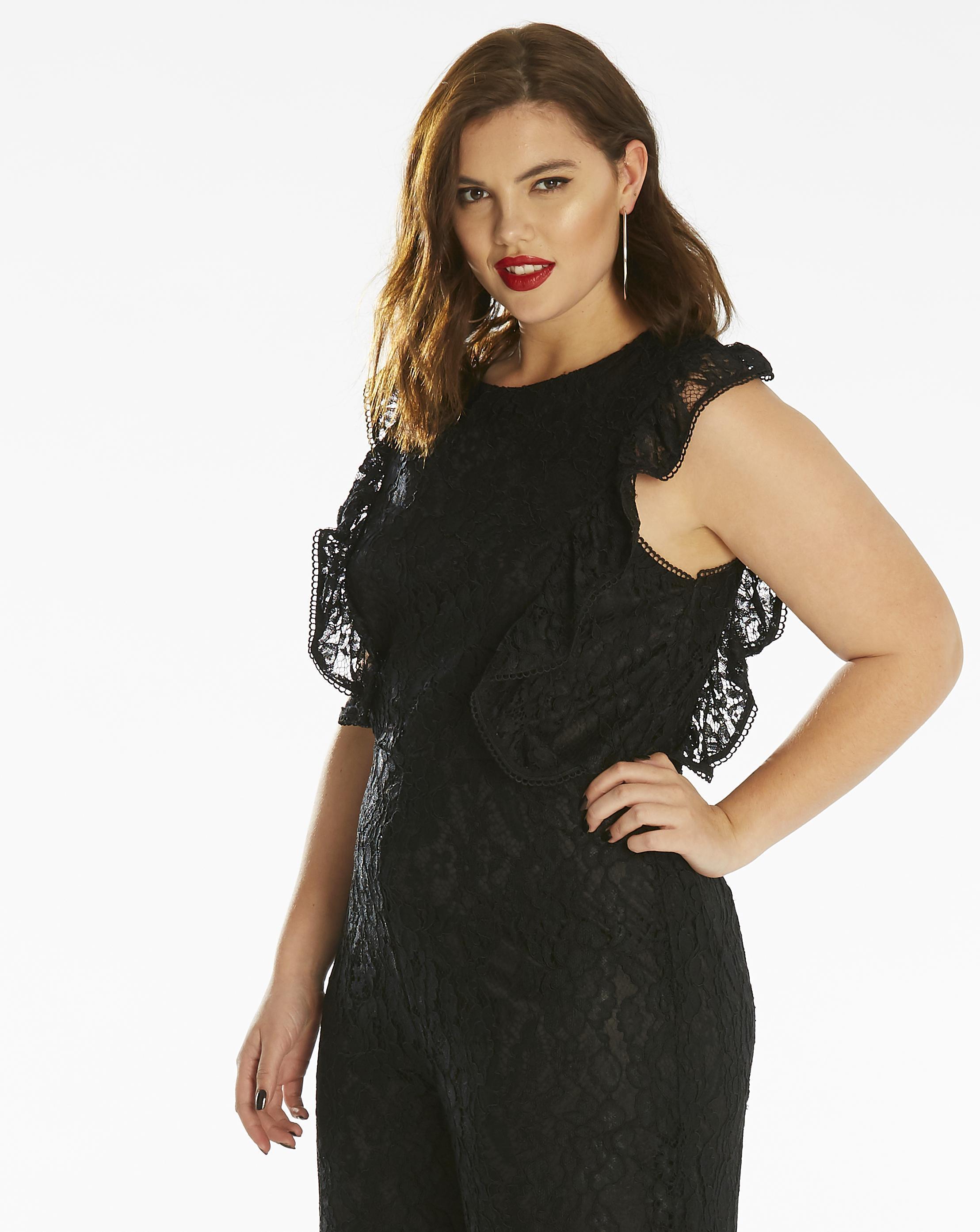 2211de640a8 Lyst - Simply Be Fashion Union Lace Jumpsuit in Black