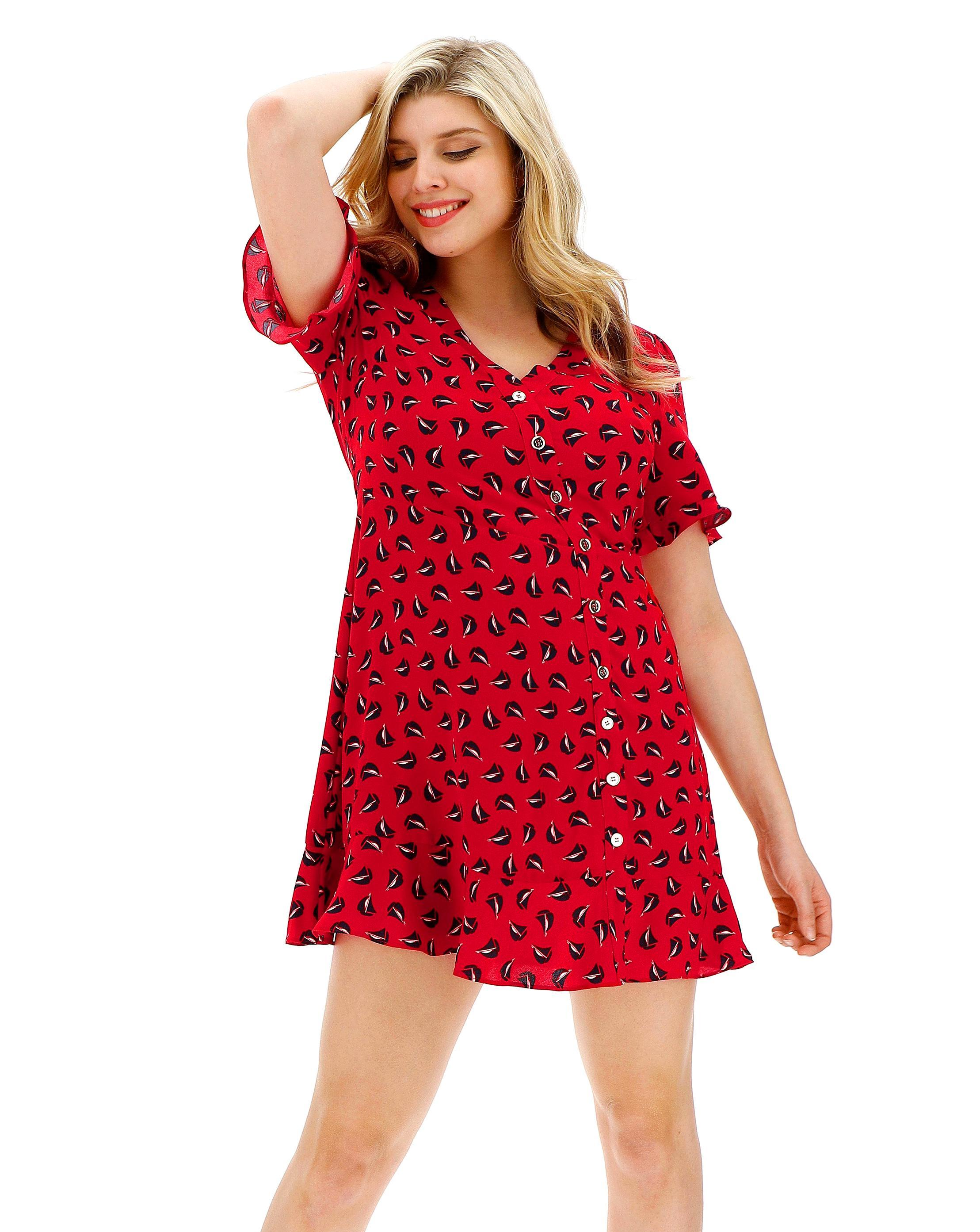 c1c89a739111 Lyst - Simply Be Oasis Curve Boat Print Skater in Red