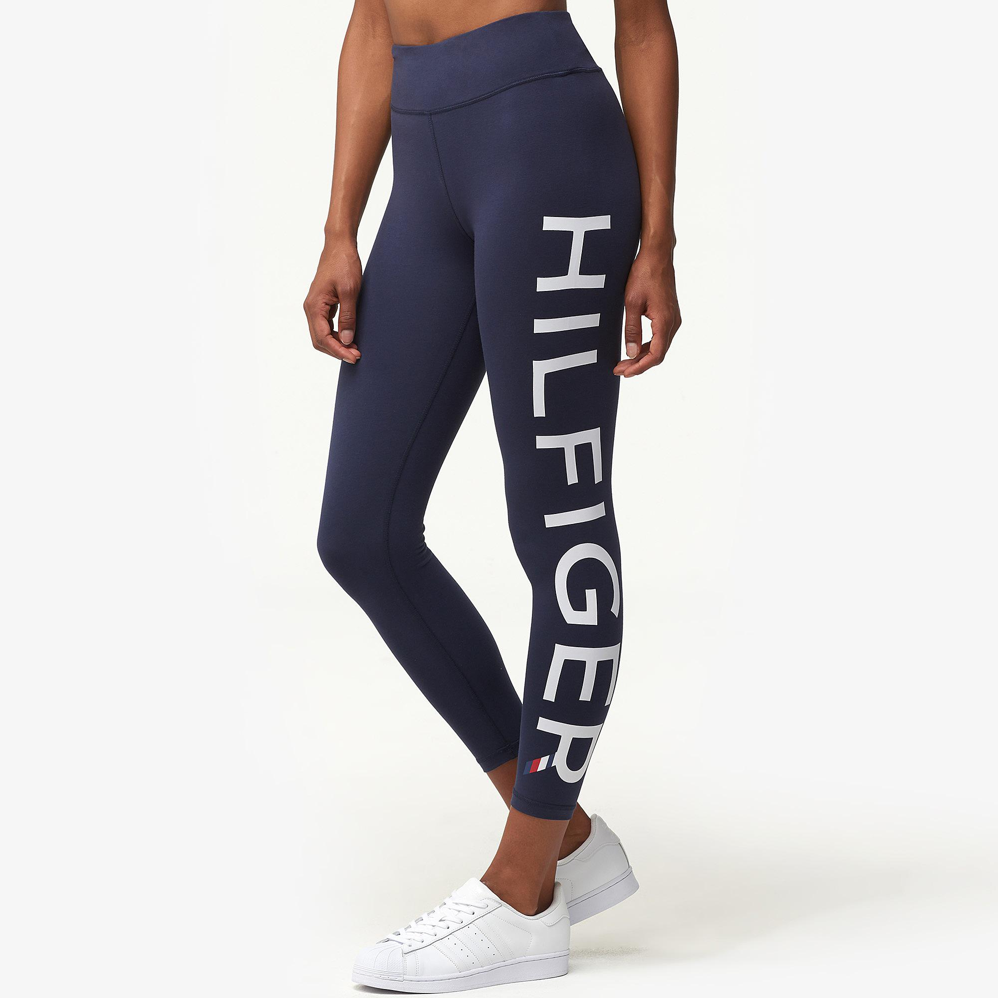 07a412d9 Tommy Hilfiger High Rise Logo Leggings in Blue - Lyst