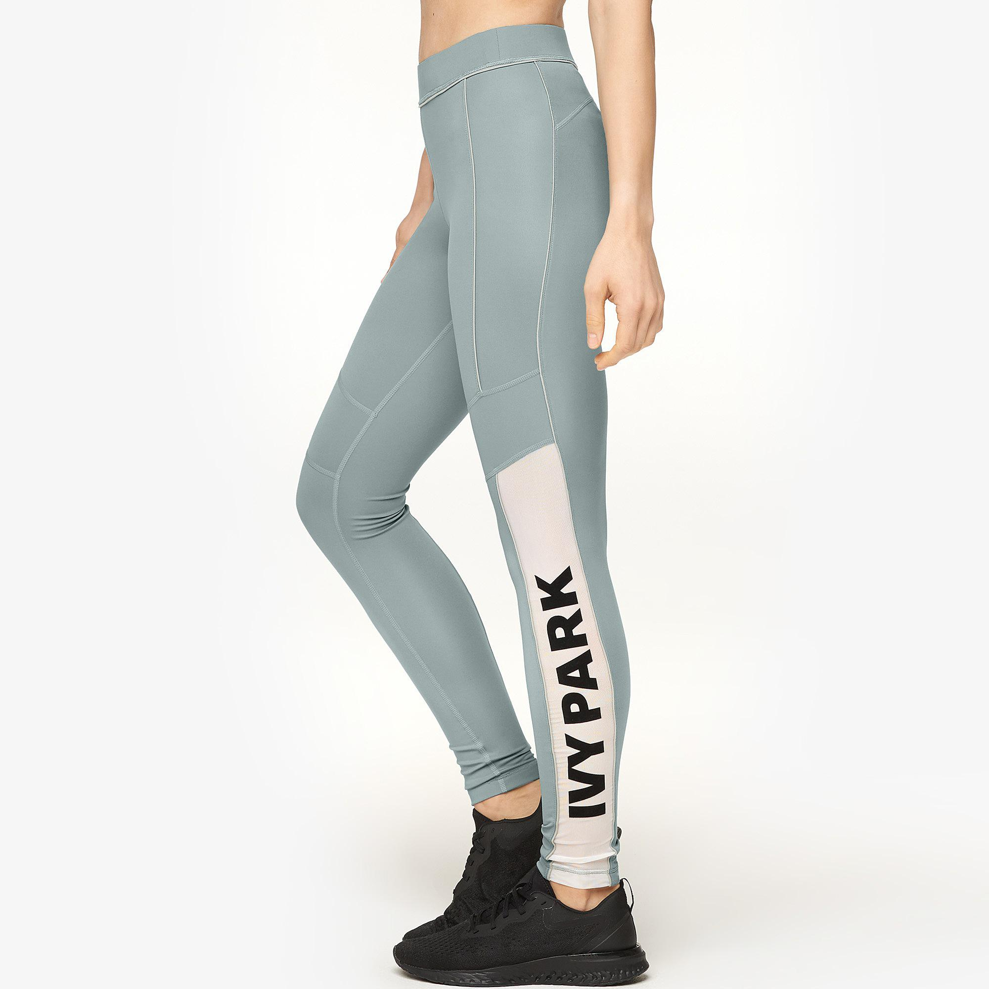 d7badc1da59e04 Ivy Park - Green Sheer Flocked Logo Leggings - Lyst. View fullscreen
