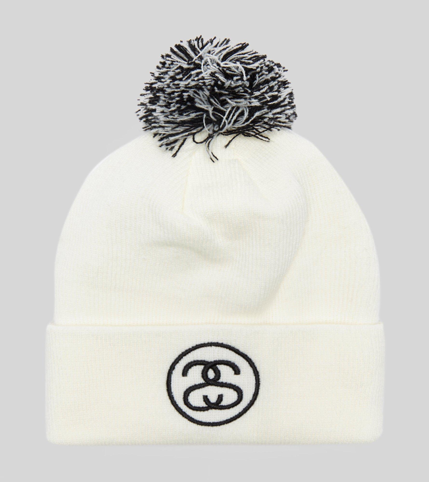 5d8e17414b2 Lyst - Stussy Ss Link Pom Beanie Hat in White