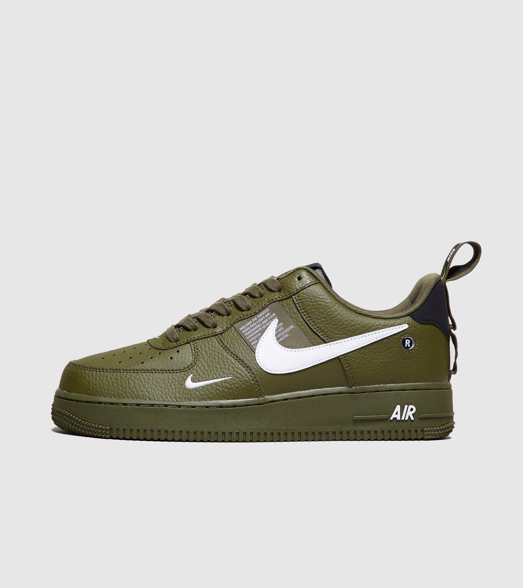 Nike Leather Air Force 1 Utility Trainers in GreenWhite