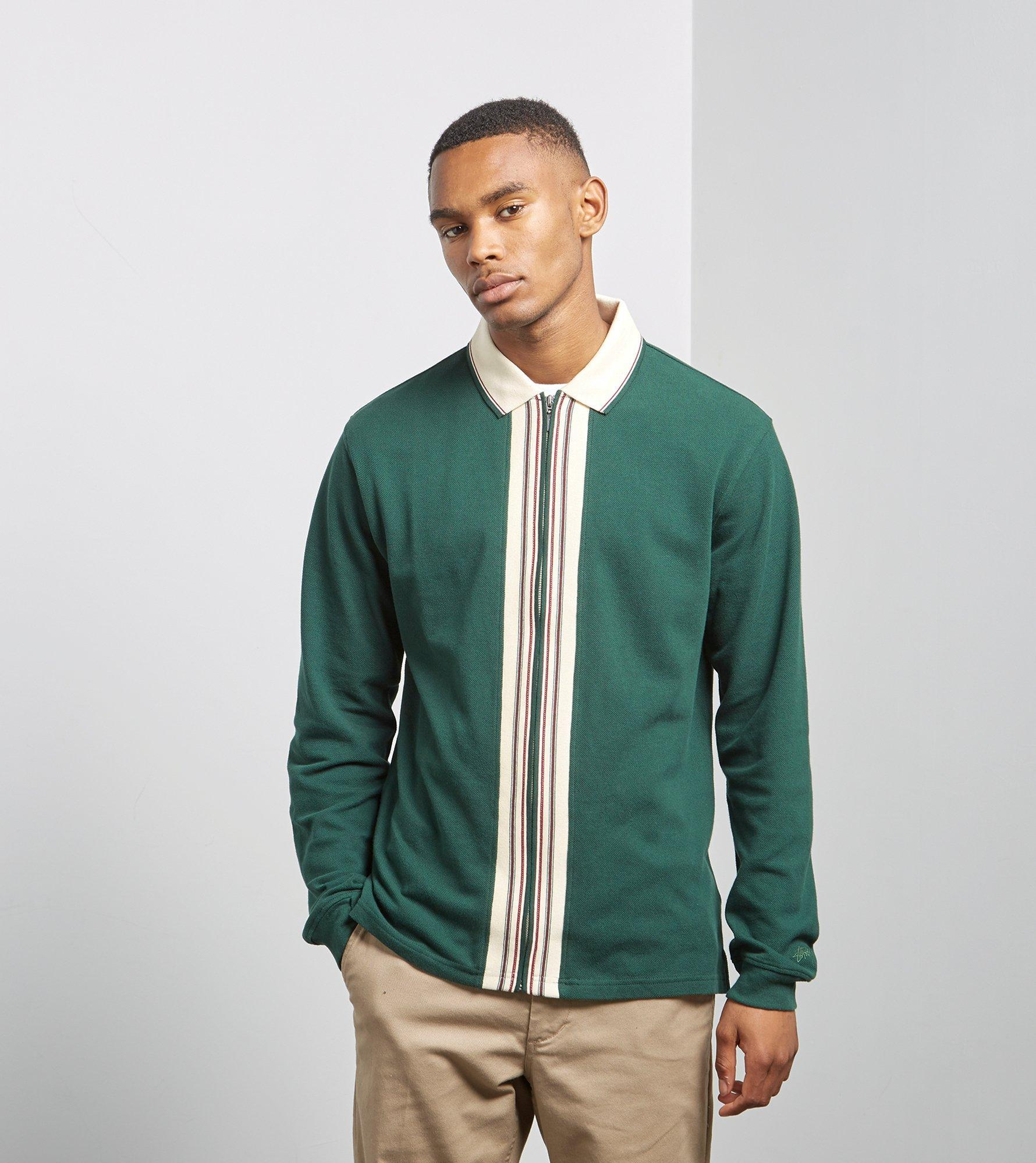 d7ee8cebce750 Stussy Full-zip Long Sleeved Polo in Green for Men - Lyst