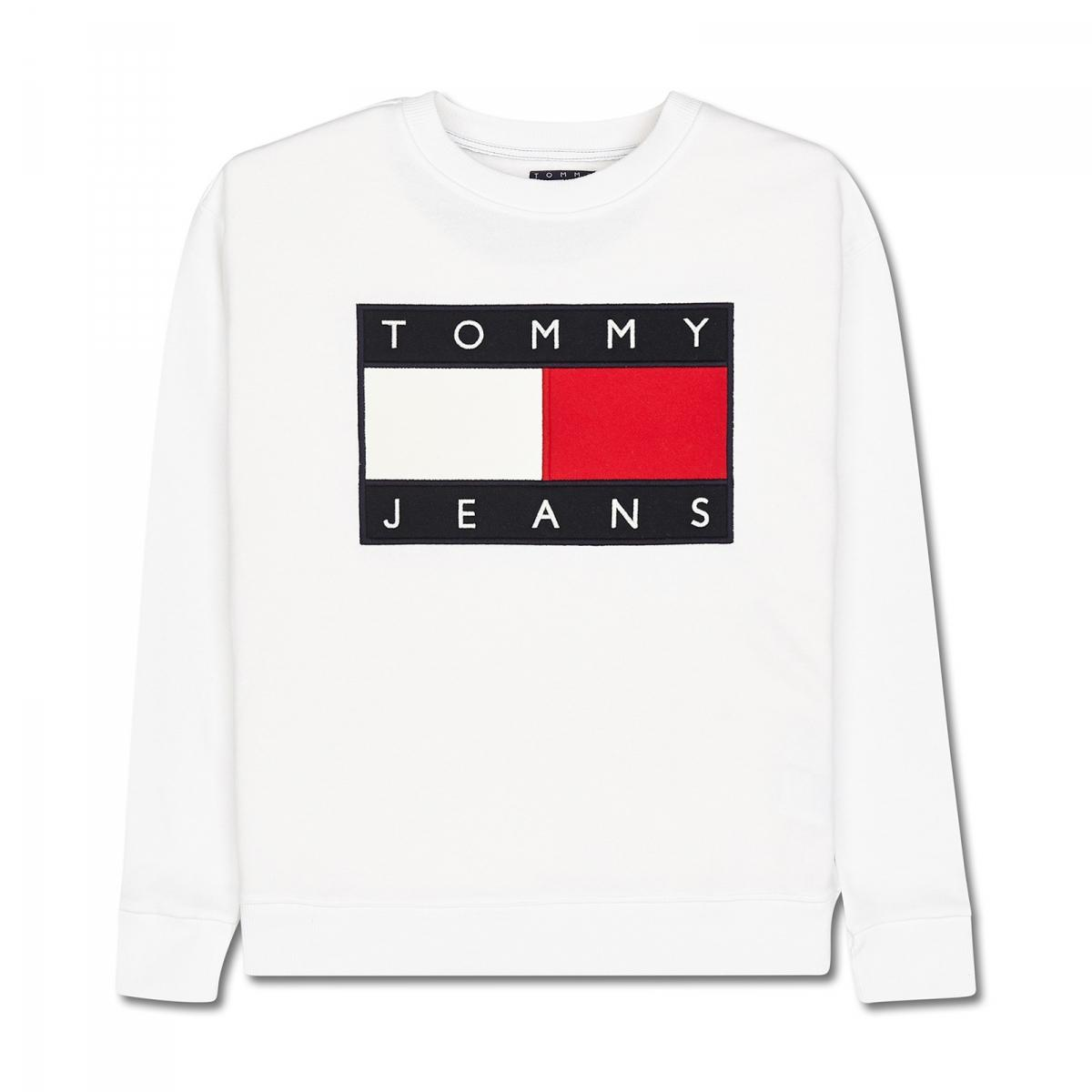 lyst tommy hilfiger wmns 90s sweatshirt in white. Black Bedroom Furniture Sets. Home Design Ideas