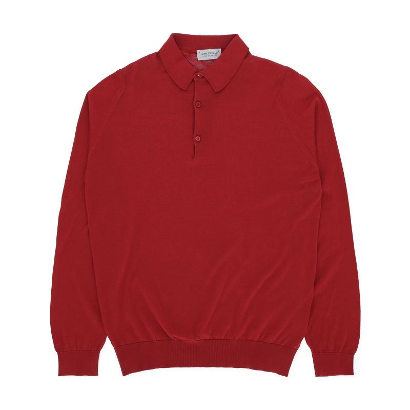 3594dddc Lyst - John Smedley Bradwell Long Sleeves Knit Polo Shirt in Red for Men
