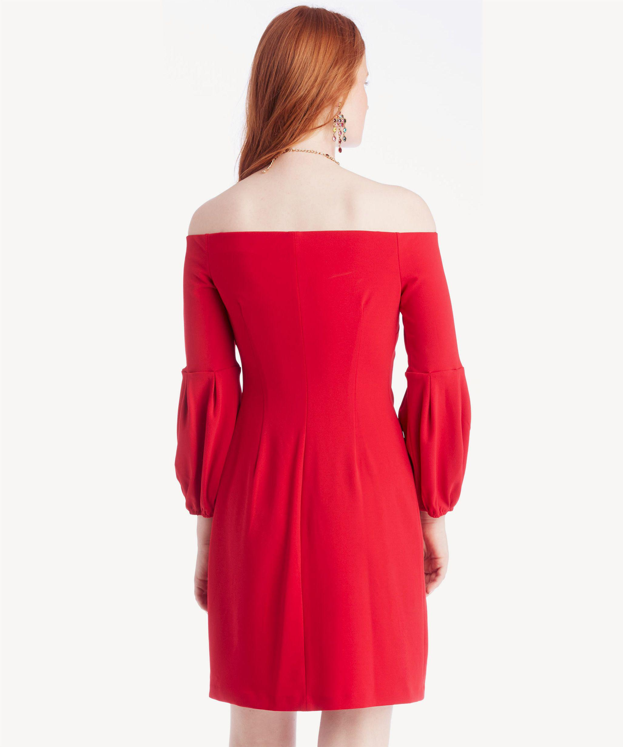 05fa1cd8d5 Lyst - Vince Camuto Off-shoulder Bubble Sleeve Crepe Ponte Dress in Red