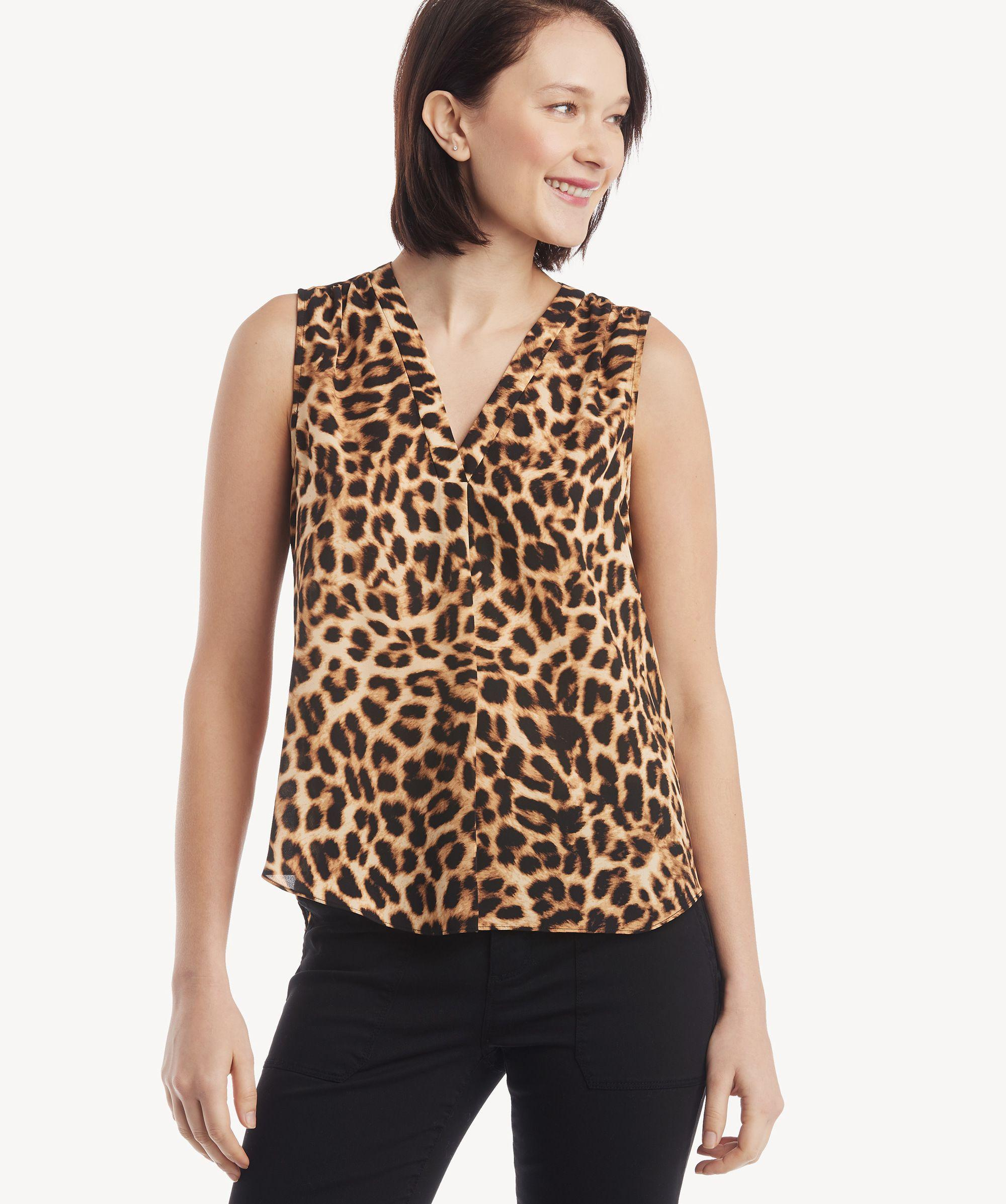 98164a3d4fc48 Lyst - Vince Camuto S l V-neck Exotic Animal Top in Black