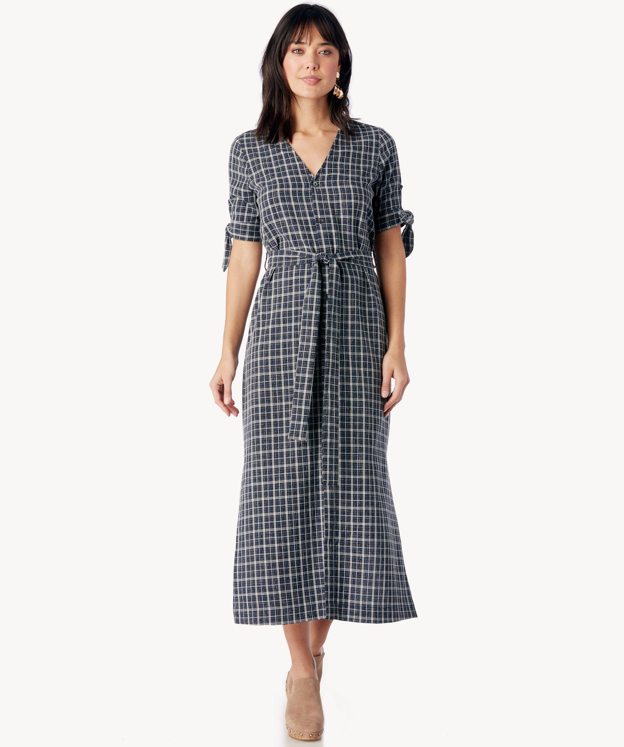 53aac765cac Lyst - Moon River Long Shirt Dress With Waist Tie in Blue
