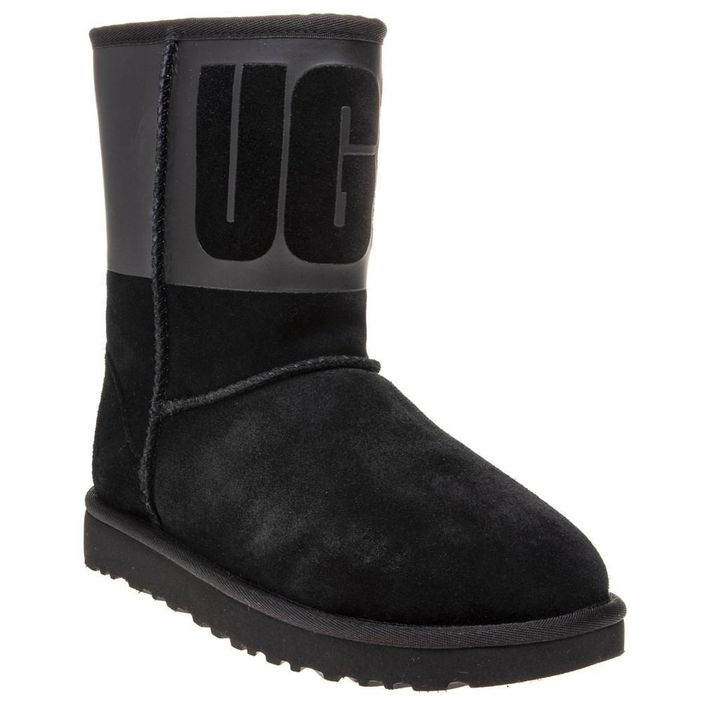 69f7eca0d93 UGG Classic Short Ugg Rubber Boots in Black - Lyst