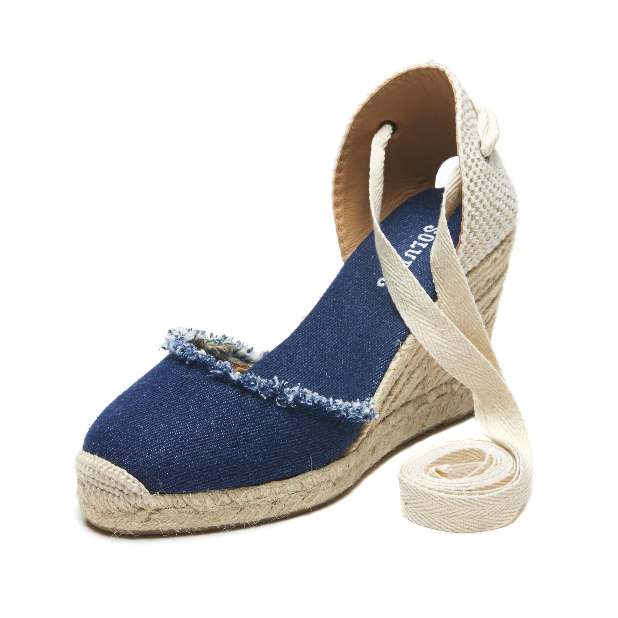 798cb720c Soludos Frayed Denim Espadrille Tall Wedge Sandal in Blue - Lyst