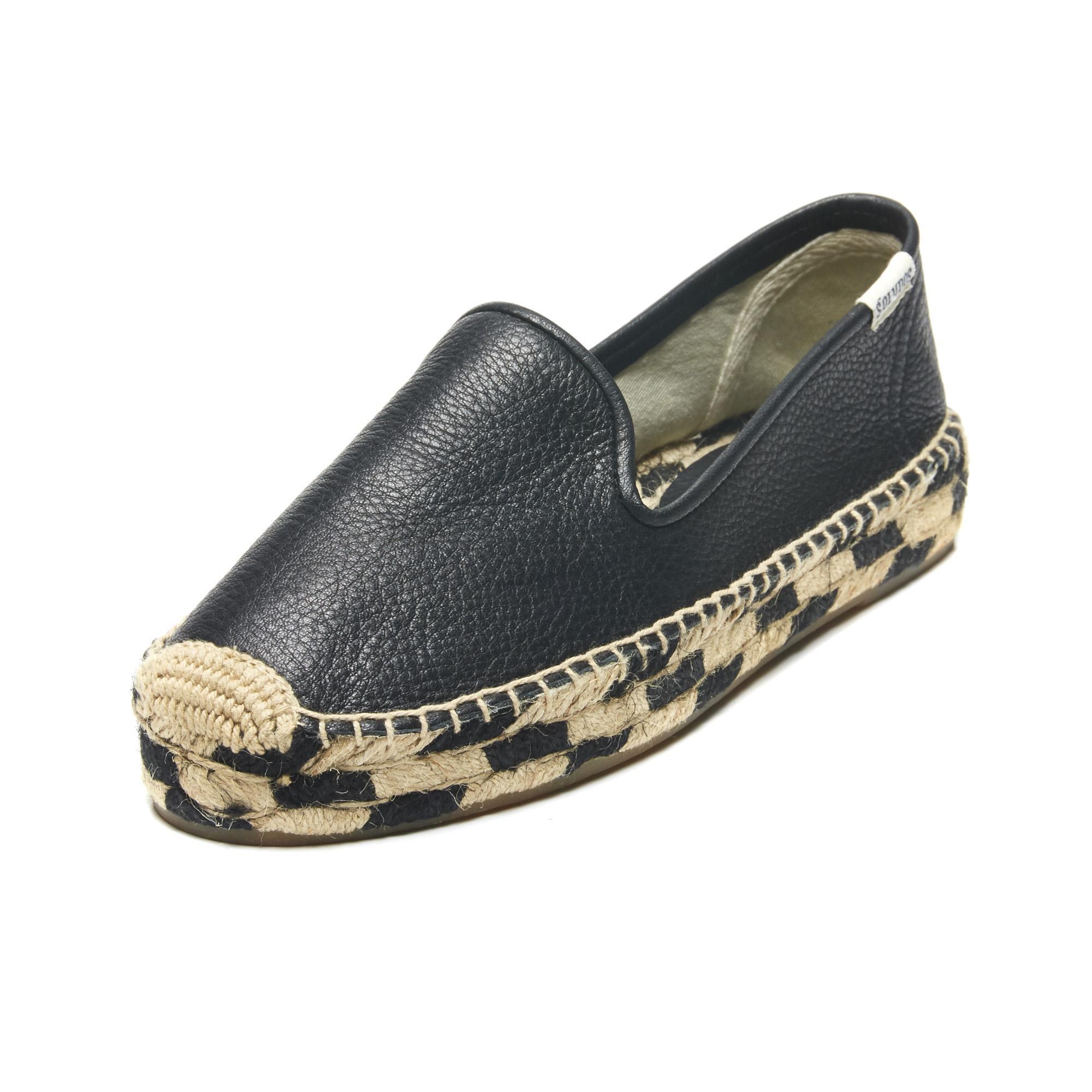 Lyst Soludos Leather Zebra Jute Platform Smoking Slipper