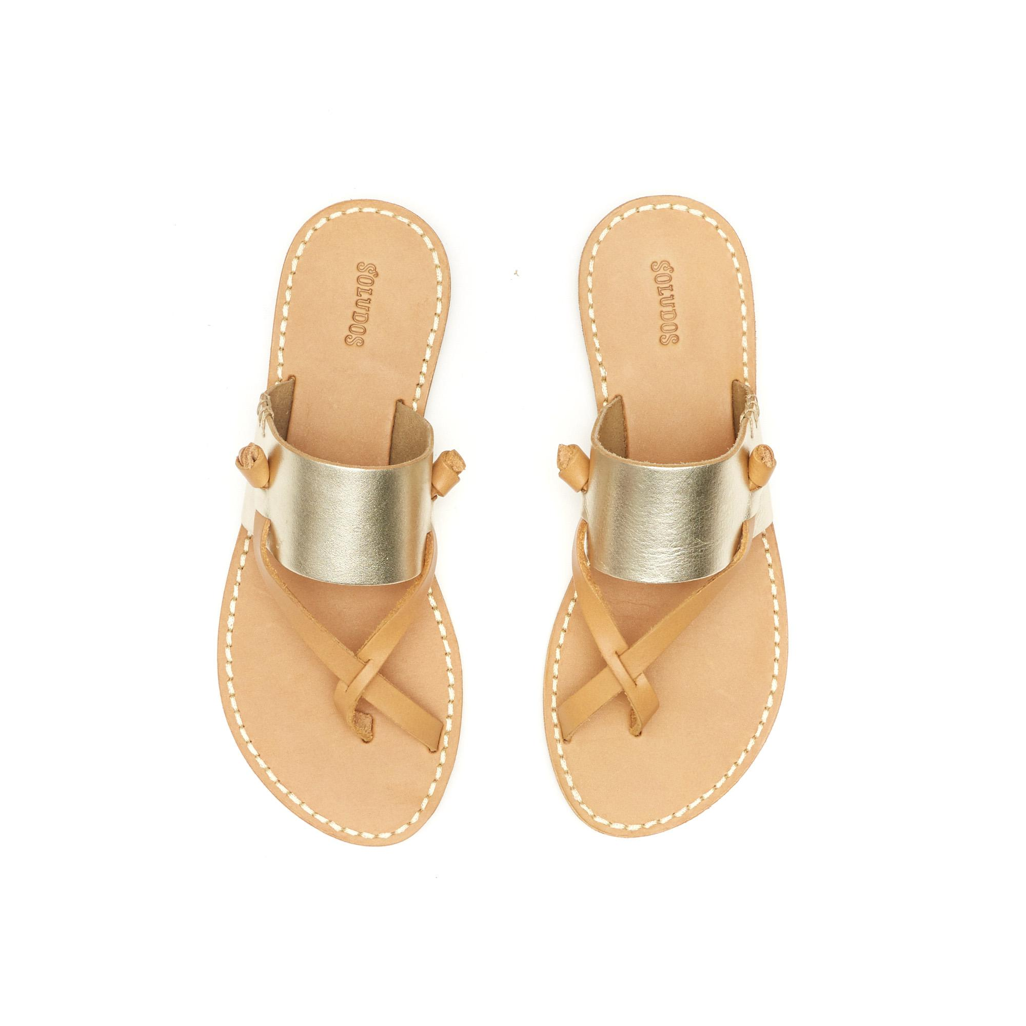 1879705faaf Soludos Metallic Leather Slotted Thong Sandal in Metallic - Lyst