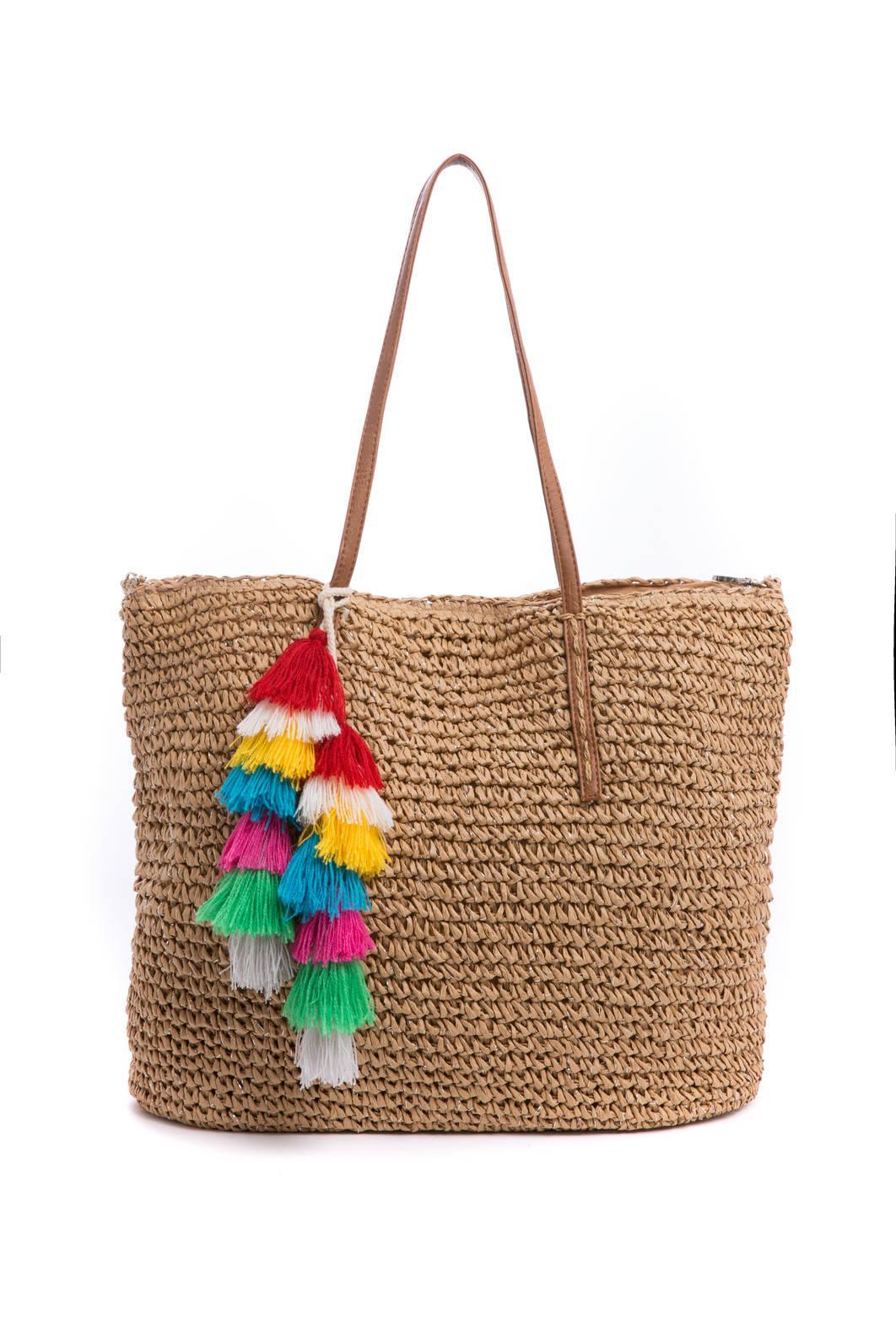 Icaria Green and Natural Raffia Beach Bag mA6Hmg91WU