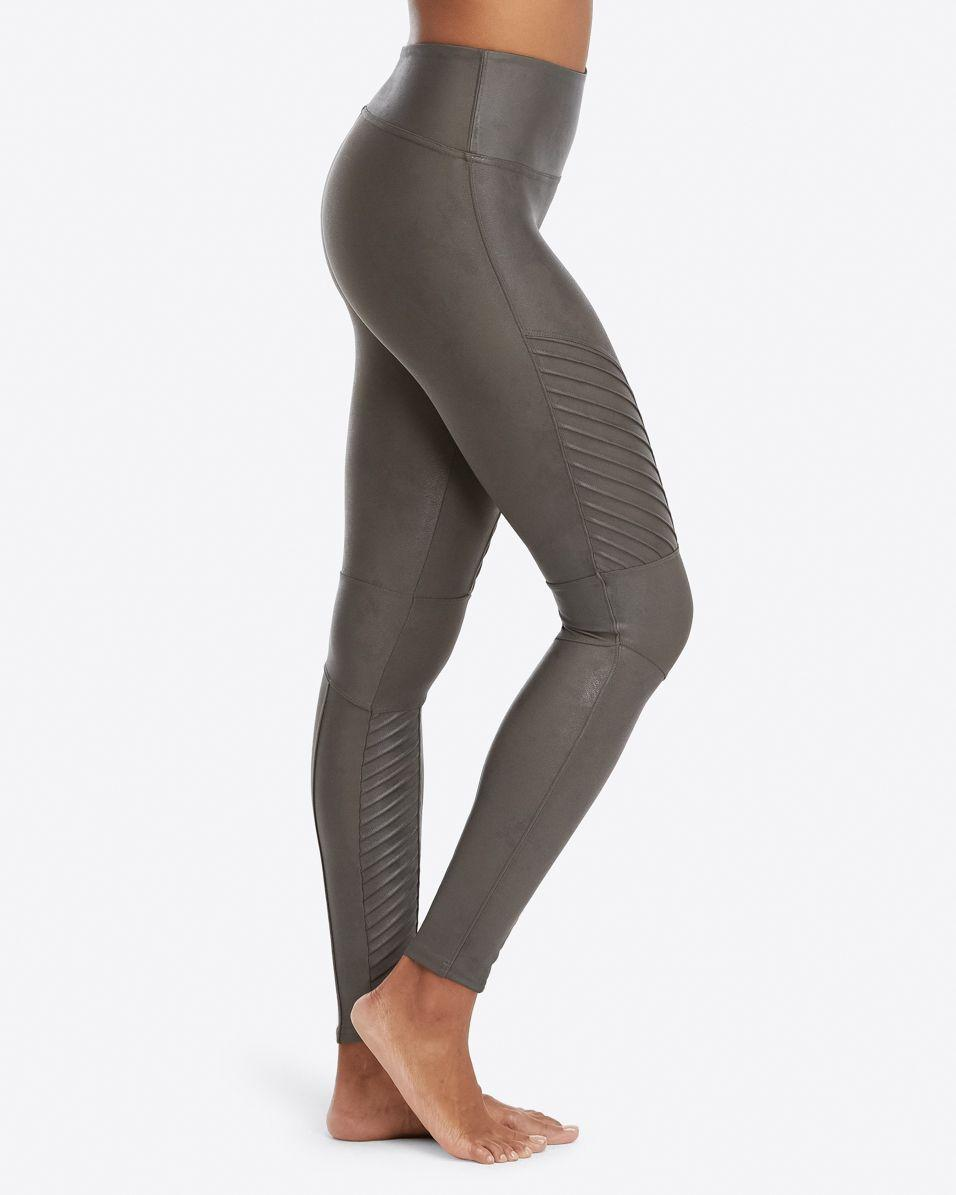 d4424a51ef382 Lyst - Spanx Faux Leather Moto Leggings in Gray