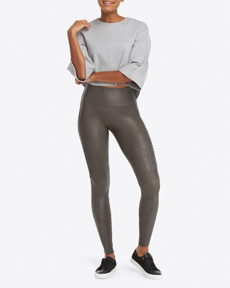 3d8a5370956c1 Lyst - Spanx Faux Leather Moto Leggings in Gray