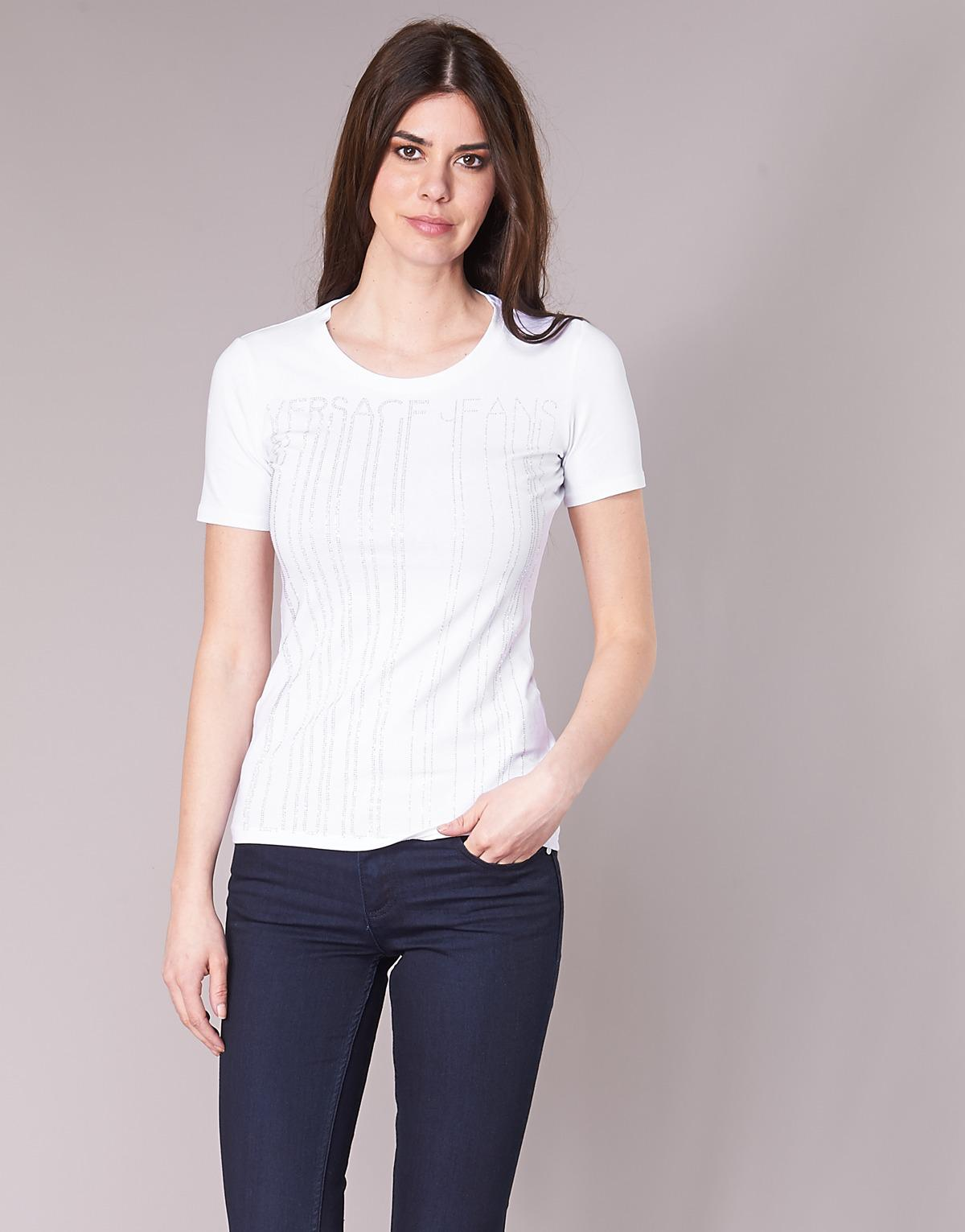 3ffb2ab2feb0 Versace Jeans B2hrb7t0 Women s T Shirt In White in White - Lyst