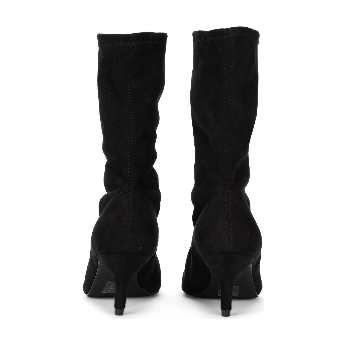 74c17deeb9c Steve Madden Ramone Black Elastic Suede Ankle Boots Women s Low ...