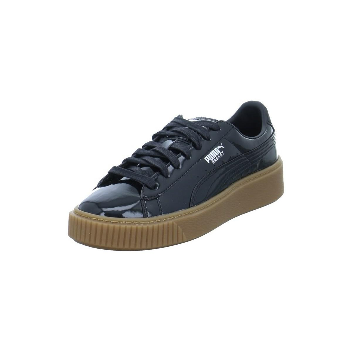 Puma Basket Platform Patent Women s Shoes (trainers) In Black in ... 9b60bbebc
