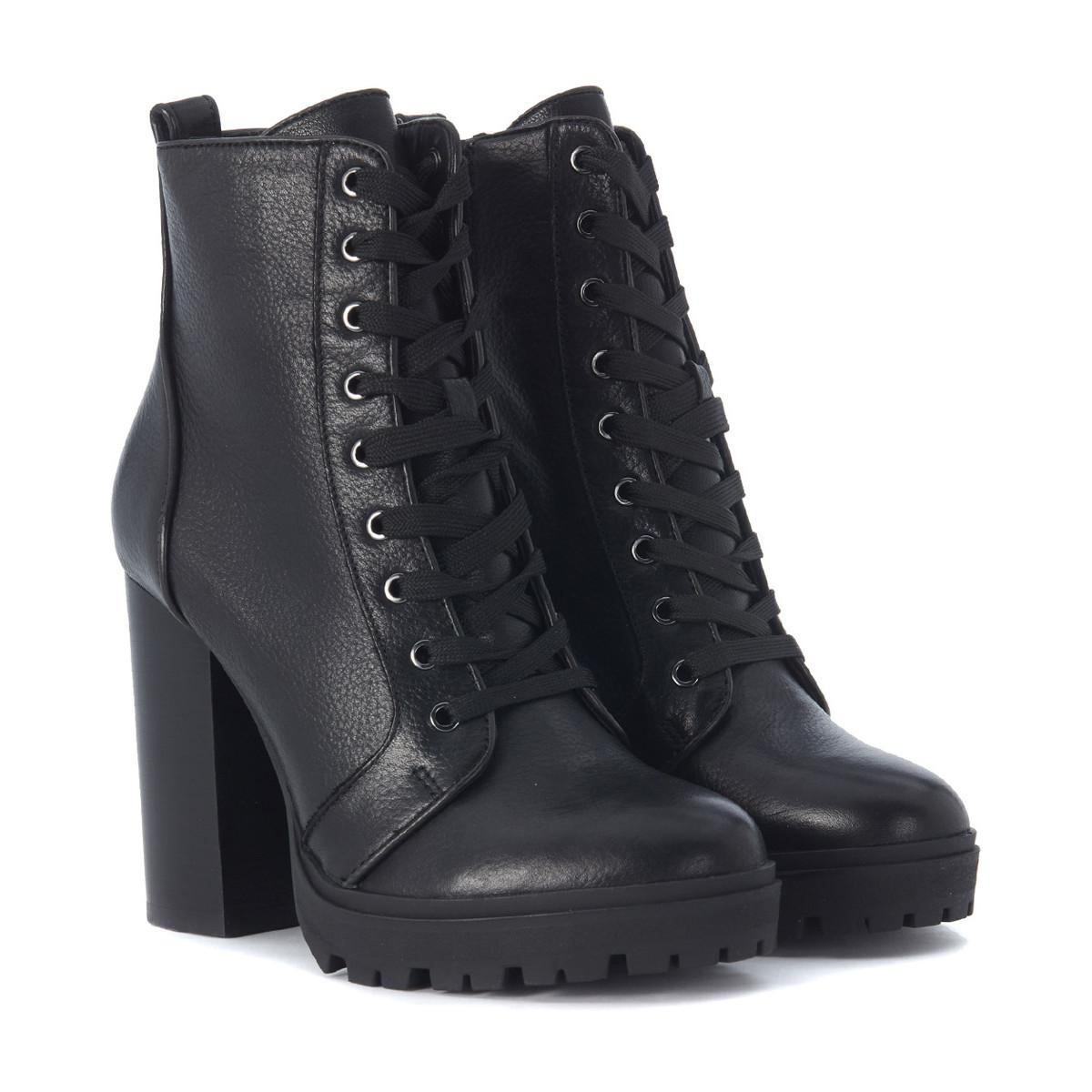 0af5e992e42 Steve Madden Laurie Black Leather Combat Boot Women s Low Ankle ...