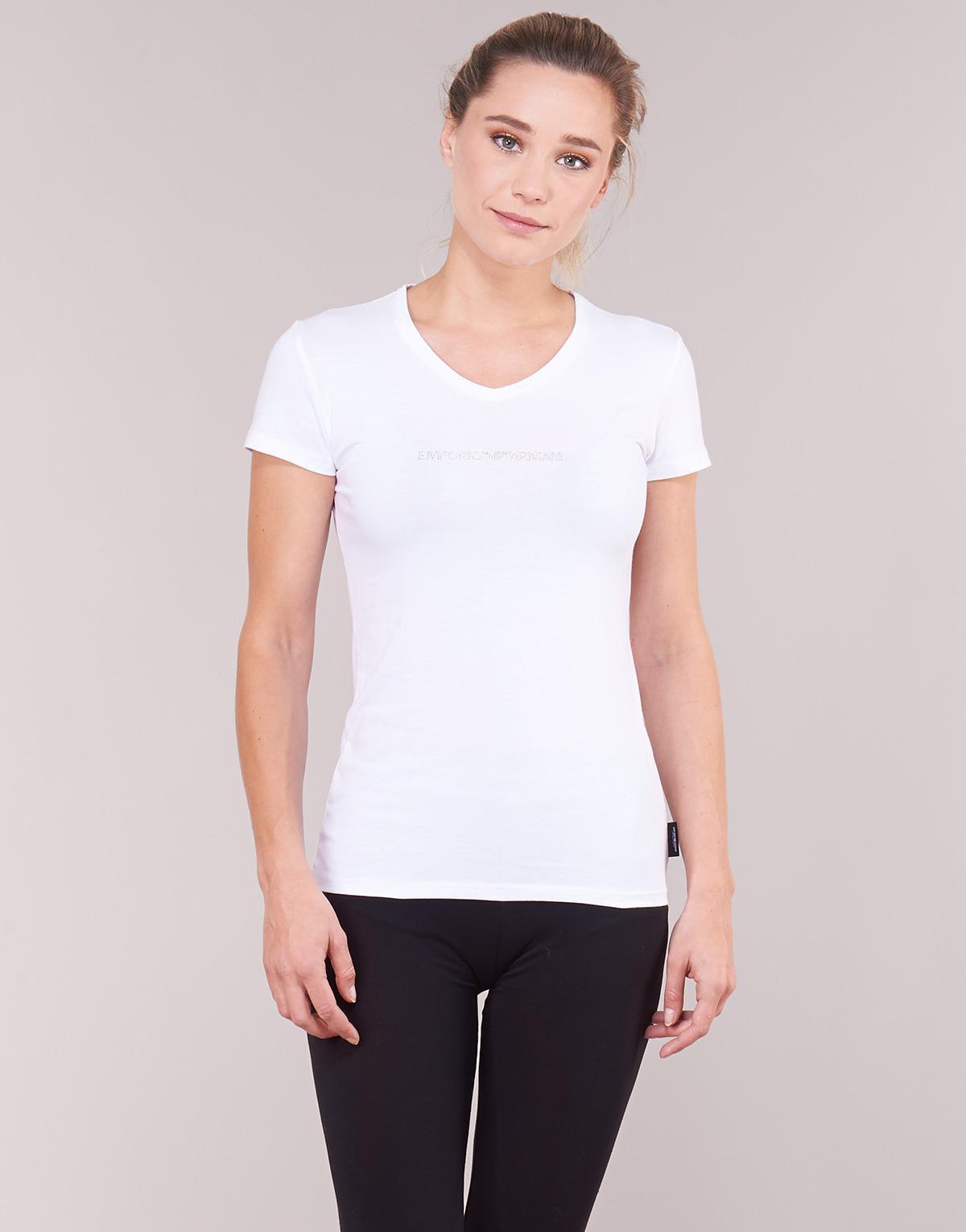 7e2ee0f52a11 Emporio Armani Cc317-163321-00010 Women's T Shirt In White in White - Lyst