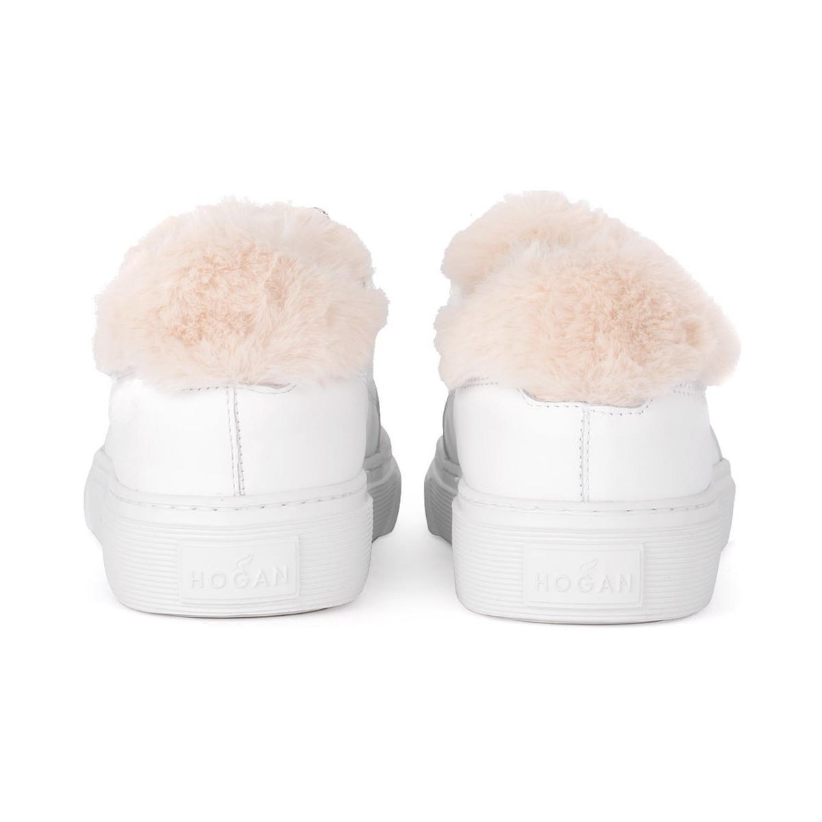 33b81457030e85 Hogan - White Basket modèle H340 en cuir blanc avec mouton femmes Chaussures  en blanc -. Afficher en plein écran