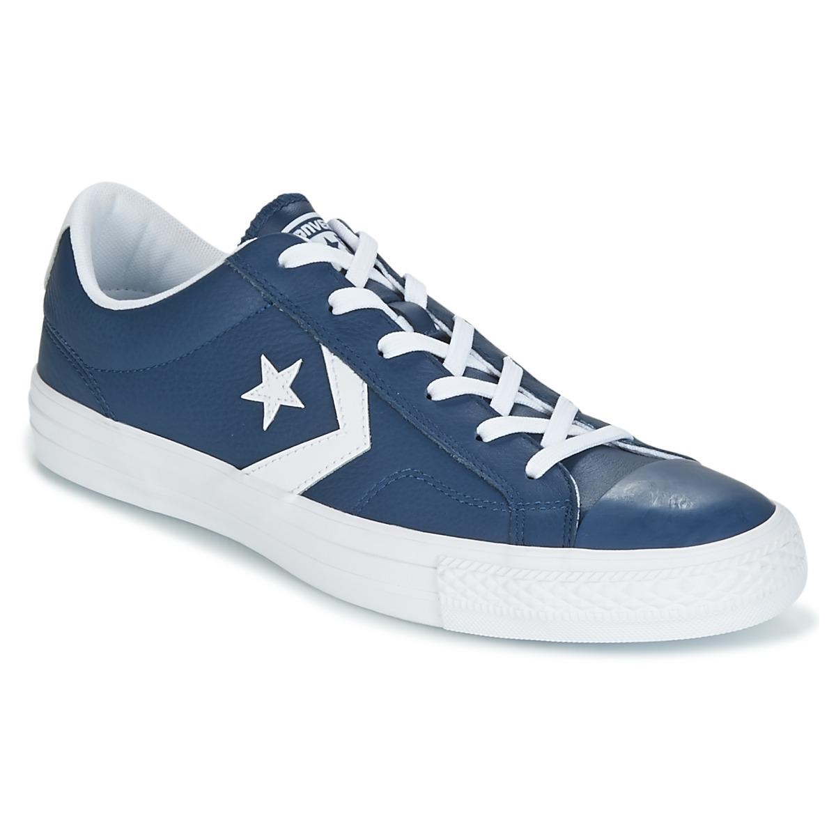 Converse Star Player Ox Leather Essentials Shoes (trainers) in Blue ... 9acd07ea0