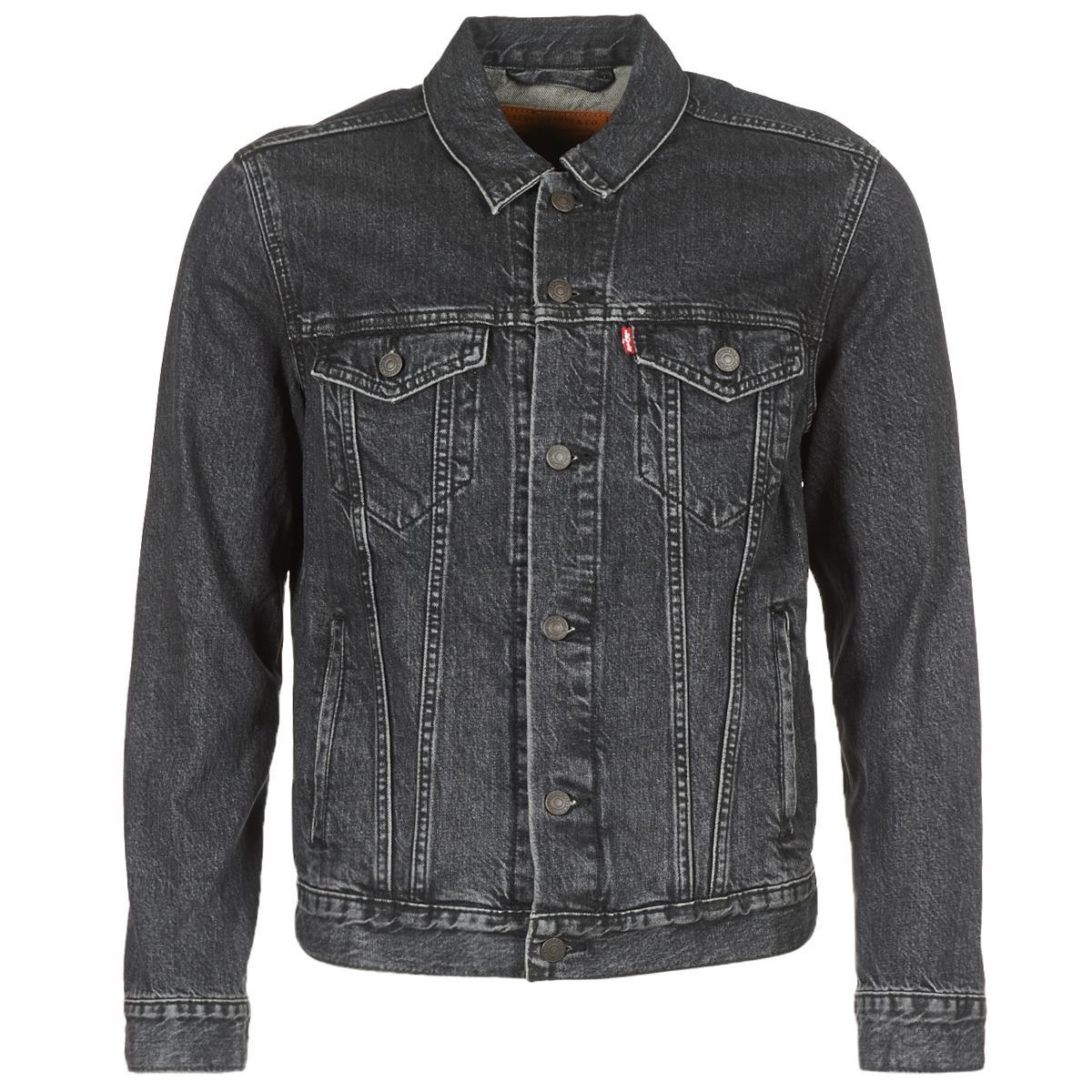 levi 39 s levis the trucker jacket men 39 s denim jacket in black in black for men save 27 lyst