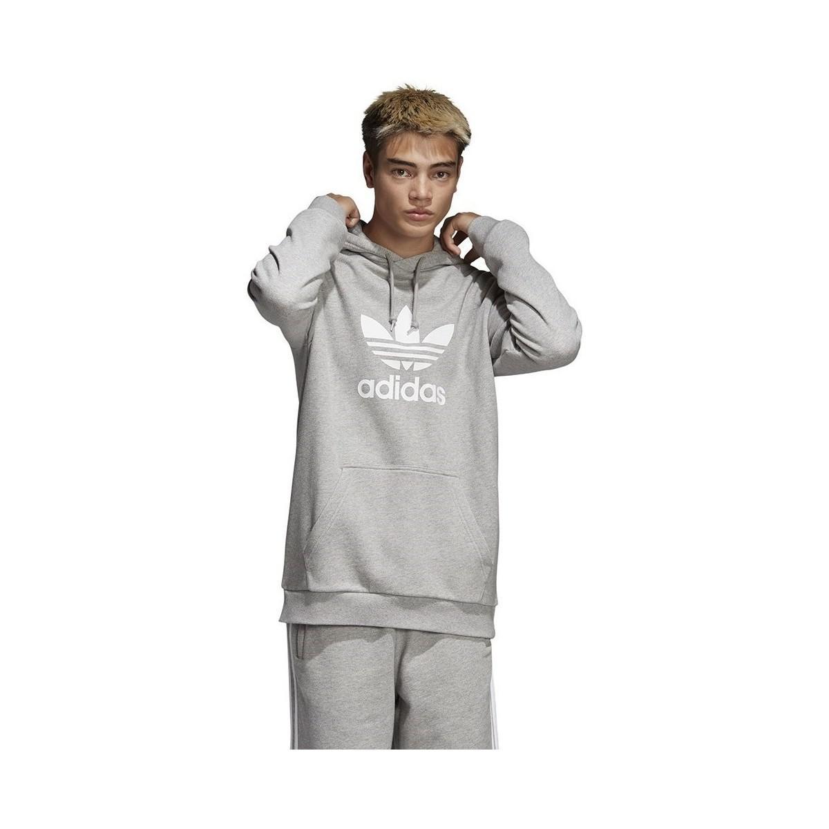 9f72529bd5a8 Adidas - Gray Trefoil Hoodie Men s Sweatshirt In Grey for Men - Lyst. View  fullscreen