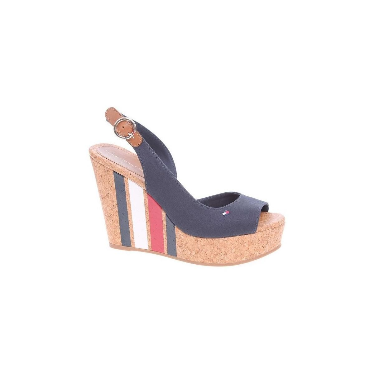 298dd1cabab ... Blue Wedge With Printed Stripes Midnight Women s Sandals In Multicolour  - Lyst. View fullscreen