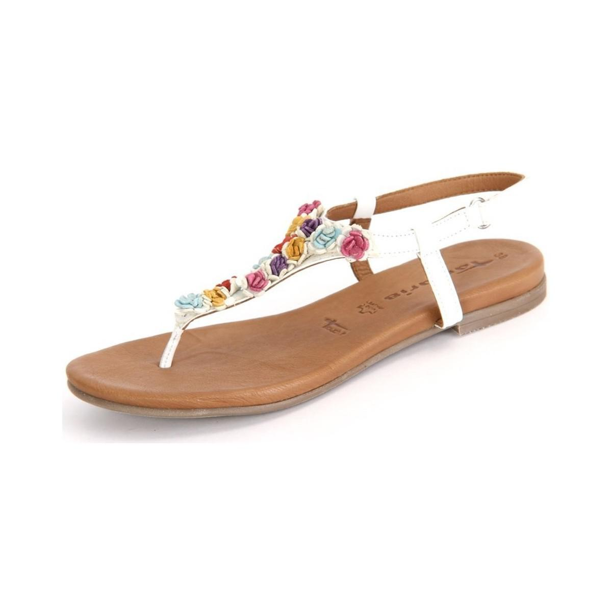 Lyst White Tamaris Combi Leather Women's In Multicolour Sandals 2IEDWHY9