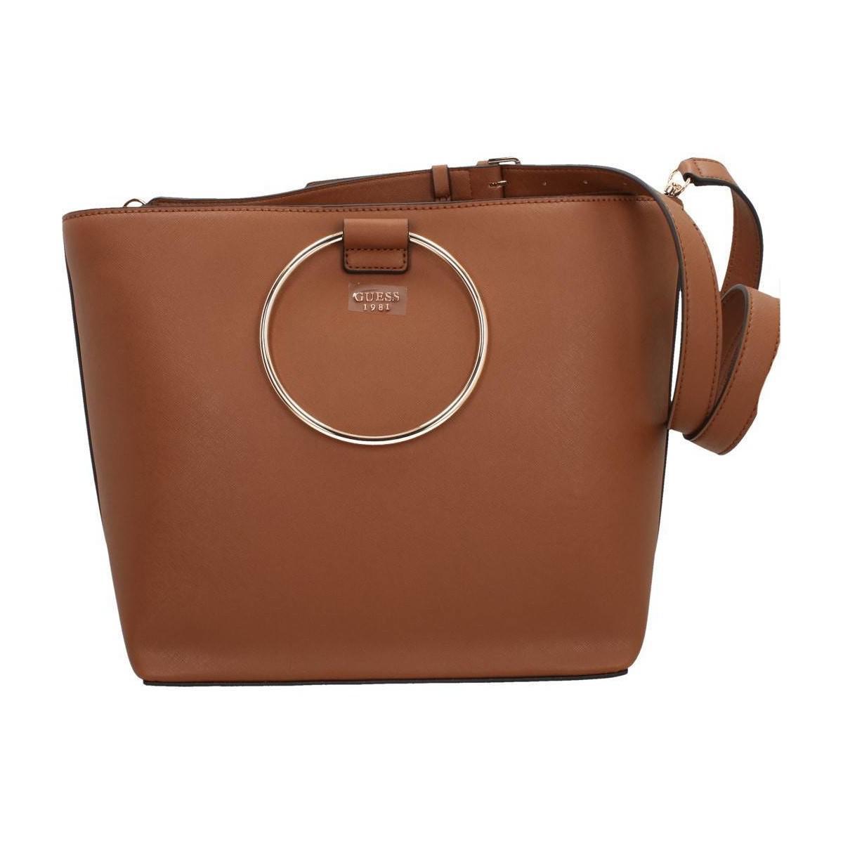 b9adb1d5f395 Guess Keaton Tote Women s Shoulder Bag In Brown in Brown - Lyst