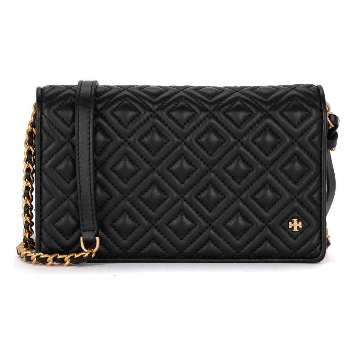 11eae35d4a Tory Burch Fleming Black Quilted Leather Pochette Women's Shoulder ...