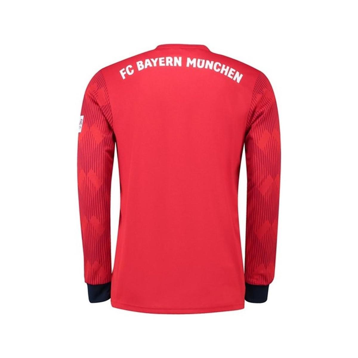 a4e1a3527b8 adidas 2018-2019 Bayern Munich Home Long Sleeve Shirt Men's In Red ...