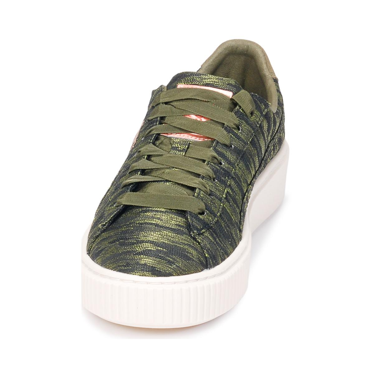 new style c4118 03c91 PUMA Basket Platform Sneakers in Green - Save 27% - Lyst