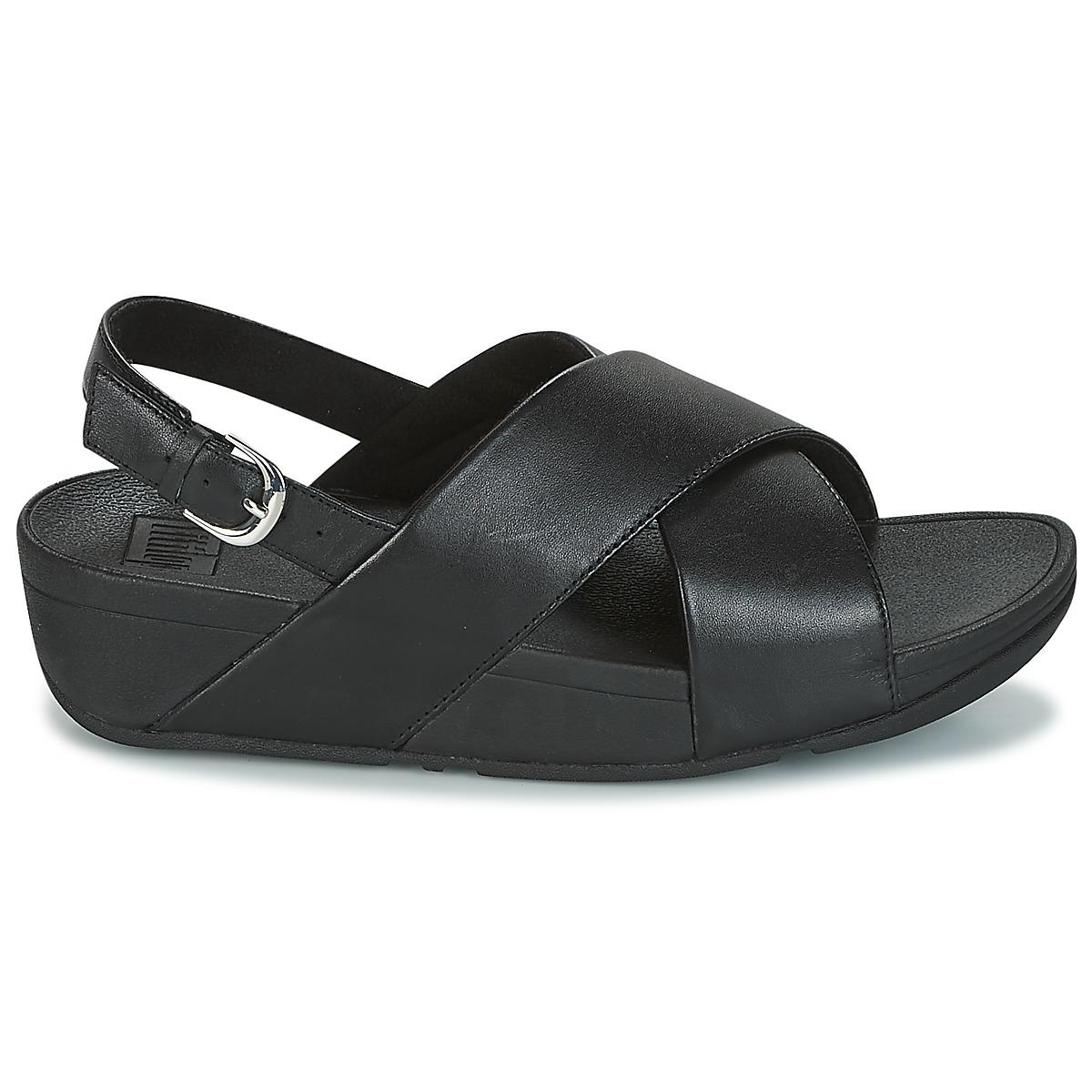 4361a59054a0 Fitflop - Black Lulu Cross Back-strap Sandals - Leather Sandals - Lyst.  View fullscreen
