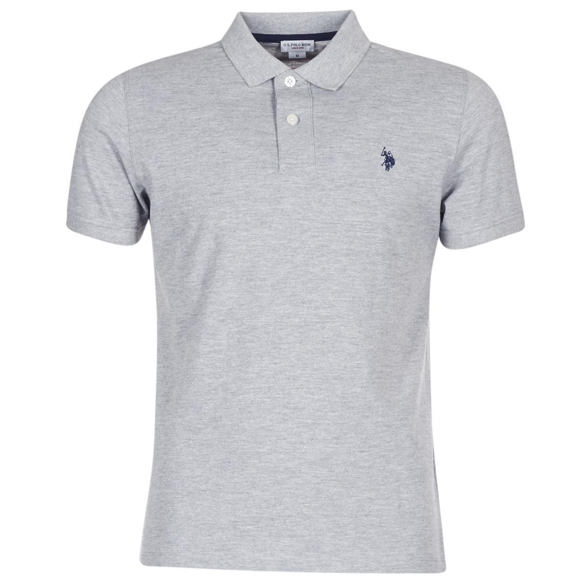 01379e25 U.S. POLO ASSN. Institutional Polo Men's Polo Shirt In Grey in Gray ...