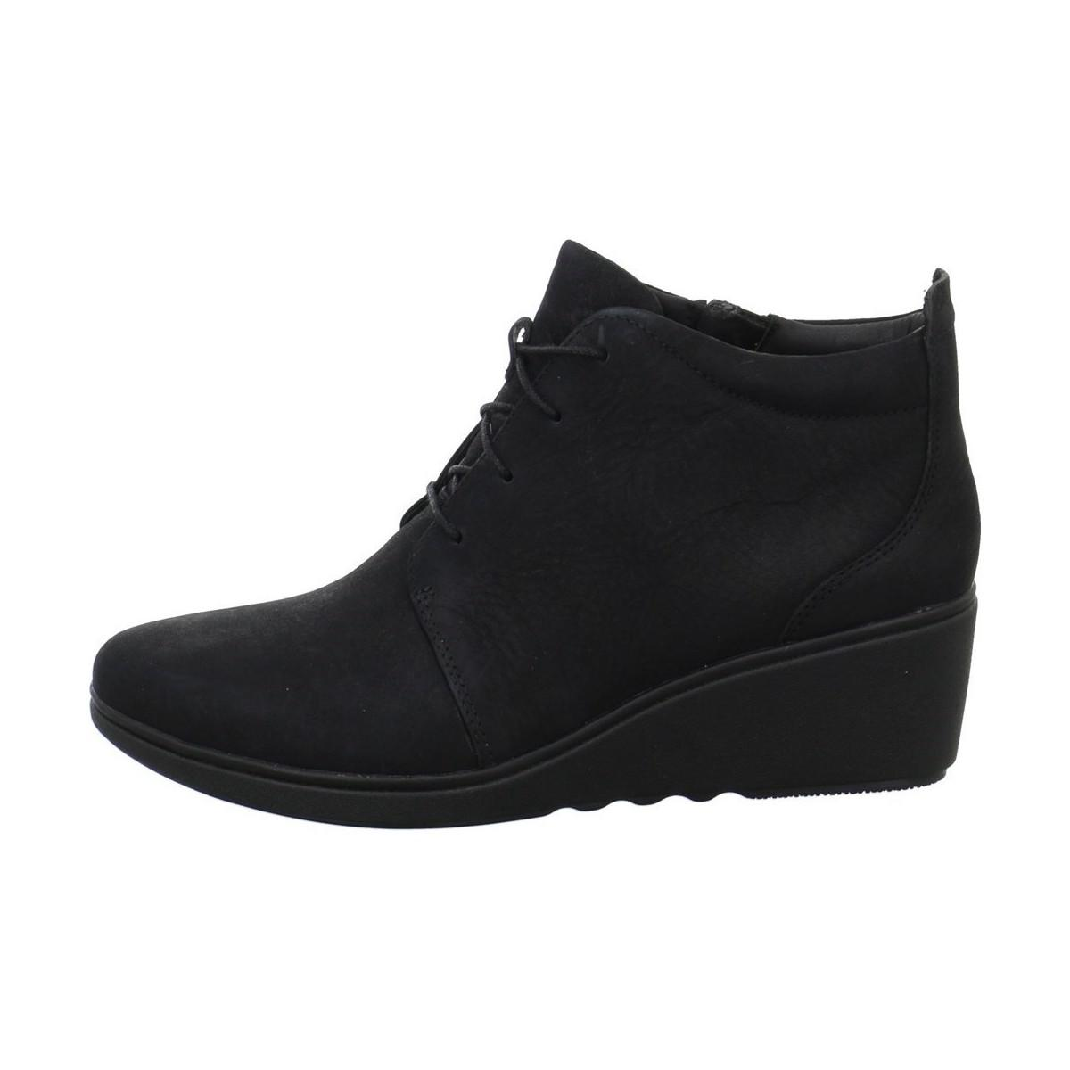 f2f32b5ce124 Clarks Black Un Tallara Esa Leather Wedge Long Boot  low priced 660b5 8ab9a  Clarks. Un Tallara Eva Womens Low Ankle Boots In Black ...