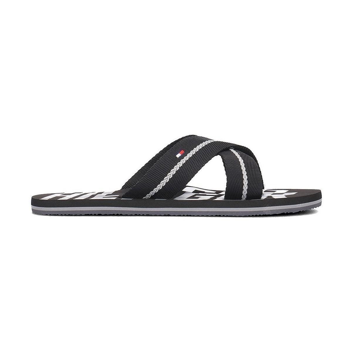 62a712ee6 Tommy Hilfiger Cross Strap Beach Sandals Black Men s Flip Flops ...