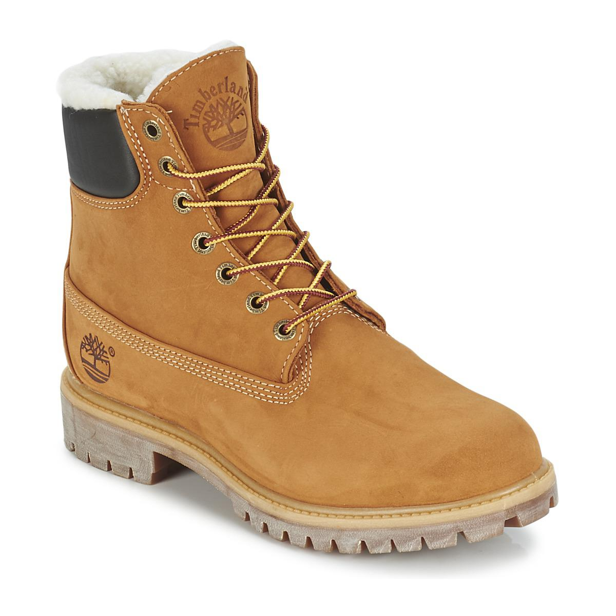 6bdbac979fc7 Timberland 6 In Premium Fur warm Lined Boot Men s Mid Boots In Beige ...