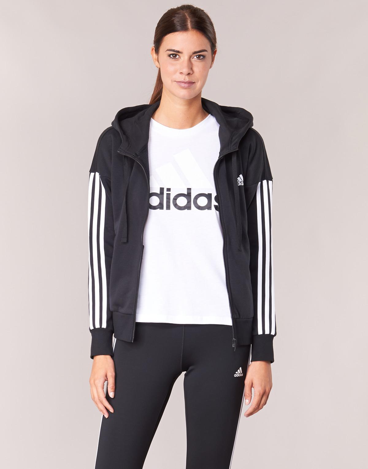 adidas Ess 3s Fz Hd Women s Sweatshirt In Black in Black - Save 10% - Lyst 5f1bf4f12