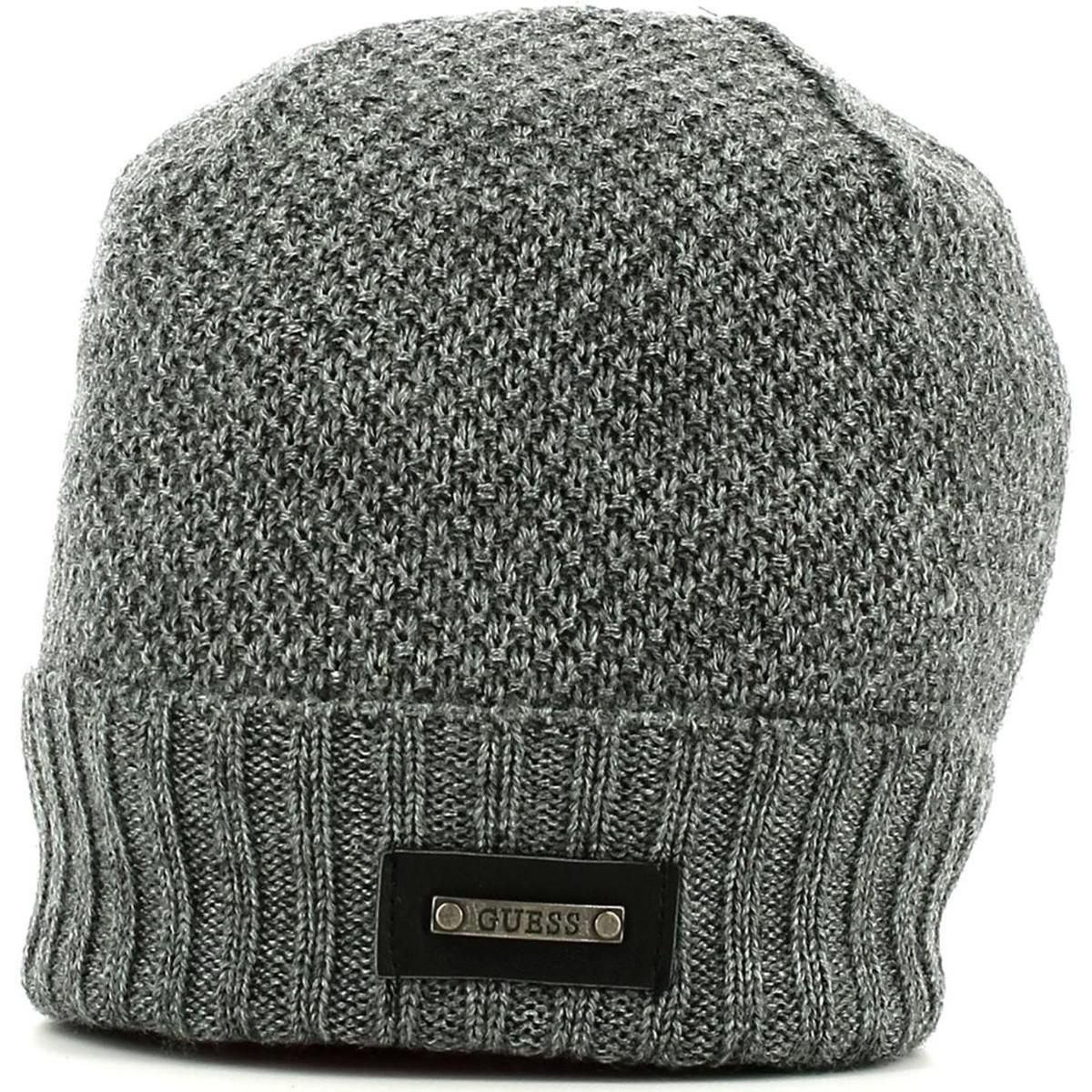 Guess Am8041 Wol01 Hat Accessories Grey Men s Beanie In Grey in Gray ... 2dc3fd8d1fd