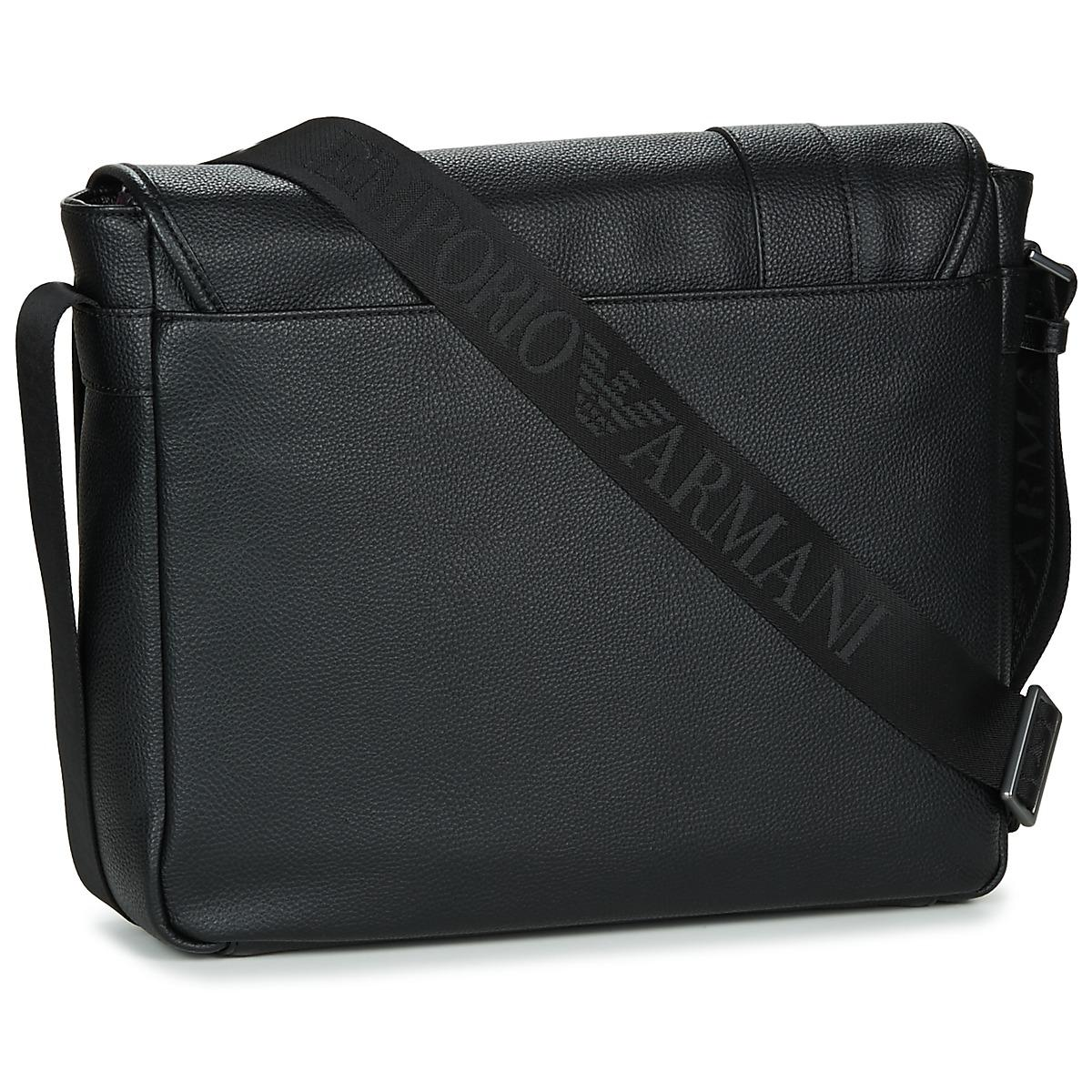 4339622c523d Emporio Armani - Black Webbing Flat Messenger Bag Messenger Bag for Men -  Lyst. View fullscreen