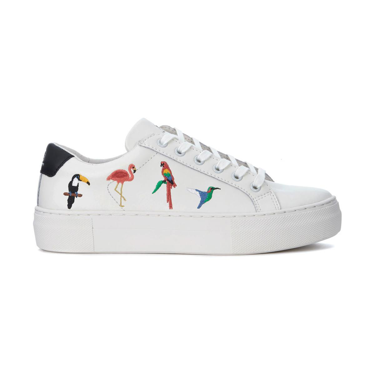 46c80400c97 MOA Moa Tropical White Leather Sneaker With Tropical Birds Women's ...