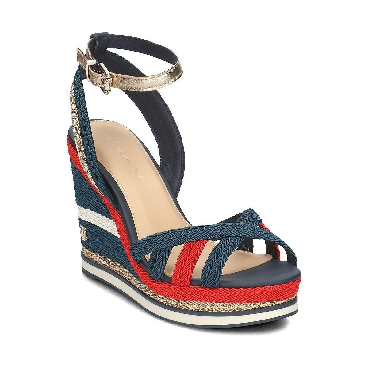 958f51156 Tommy Hilfiger Corporate Wedge Women s Sandals In Black in Black - Lyst