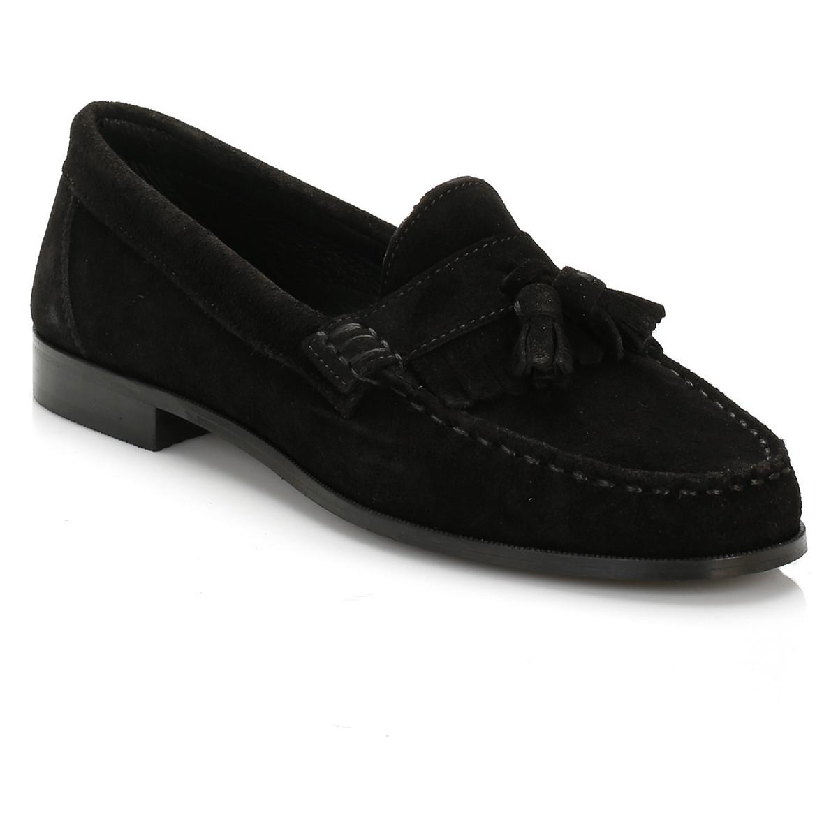 a1537e3e730 TOWER London Womens Black Suede Tassel Loafers Women s Loafers ...