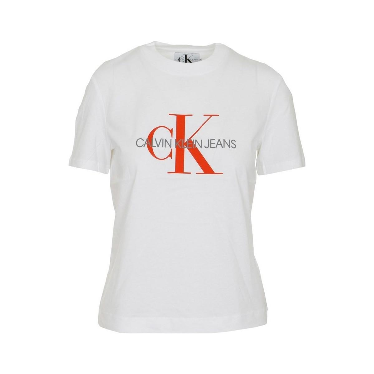 1a55efb825d Calvin Klein. White Satin Monogram Relax Fit Women s T Shirt In Multicolour