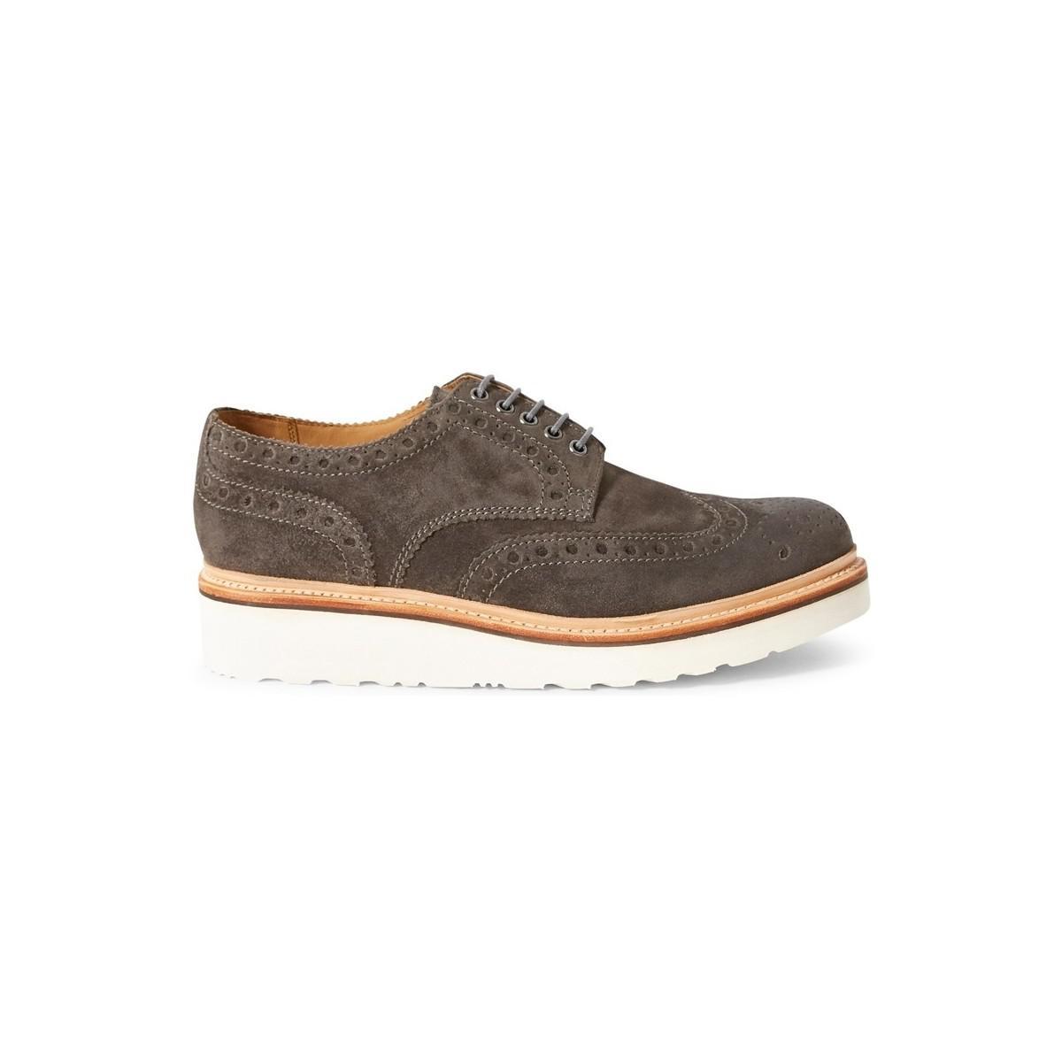 Grenson  Gray Archie V Brogue Shoe Grey Men's Smart Formal Shoes